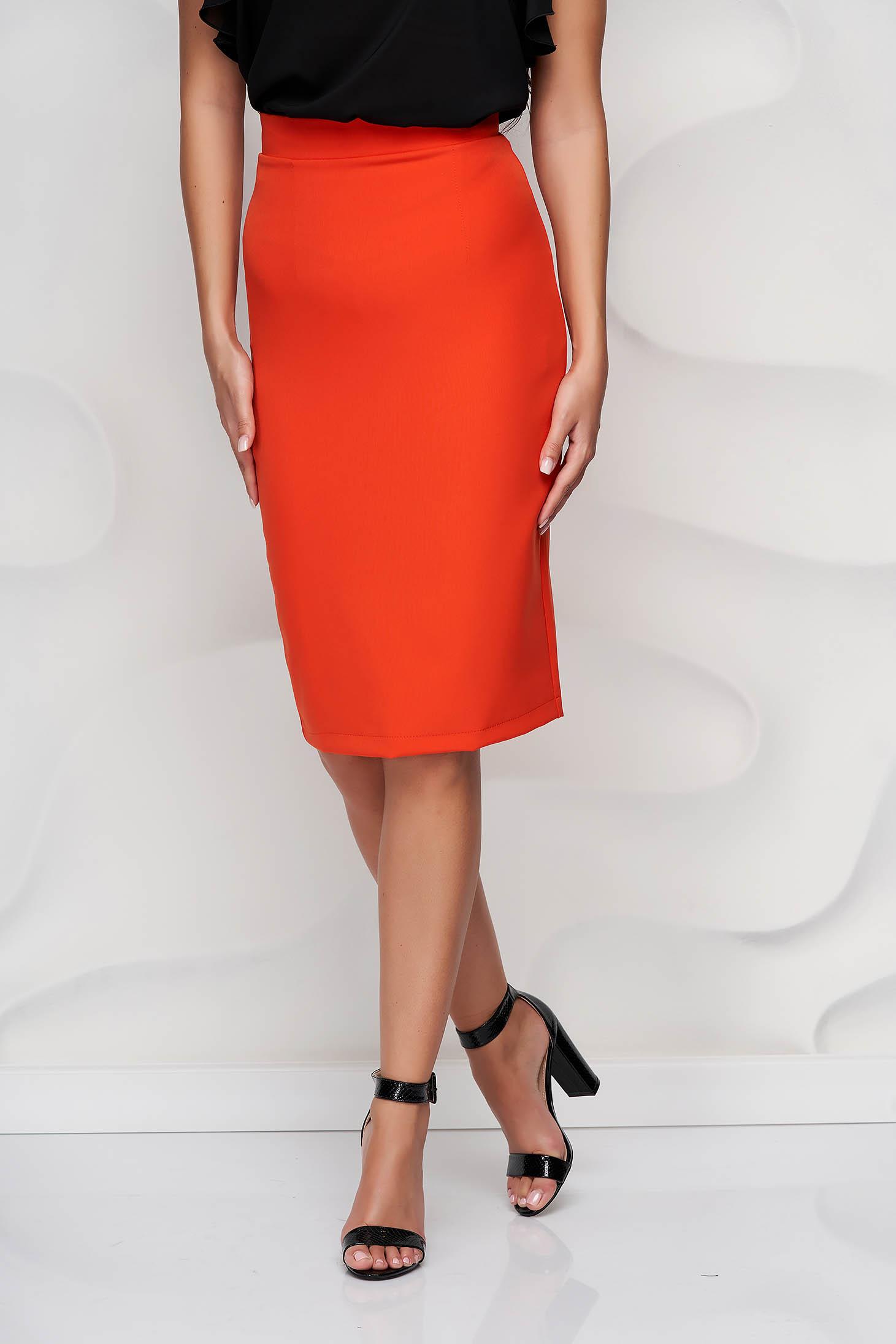StarShinerS orange high waisted skirt office pencil cloth midi from elastic fabric