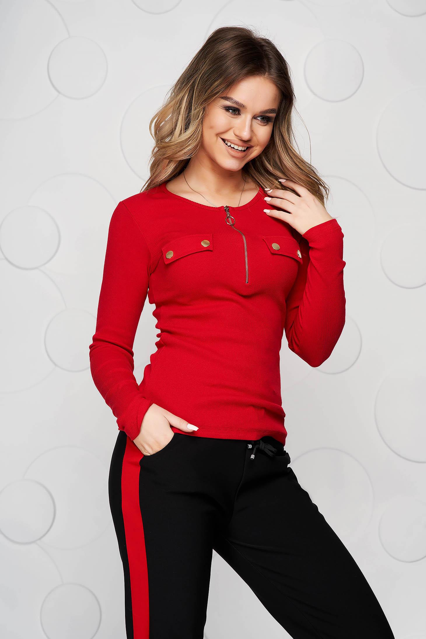 Bluza dama SunShine rosie din bumbac reiat cu nasturi metalici