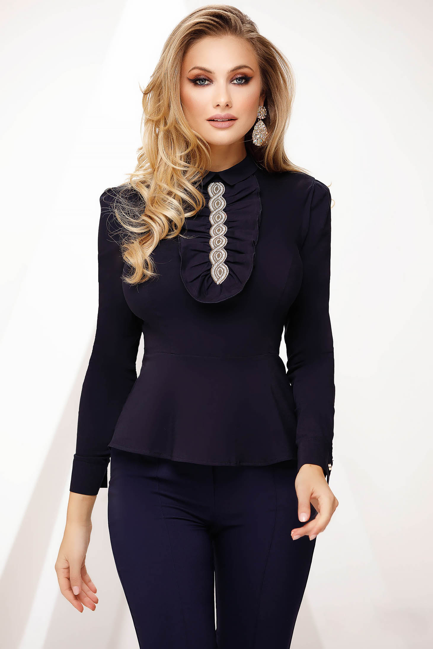 Darkblue women`s shirt office tented with ruffle details