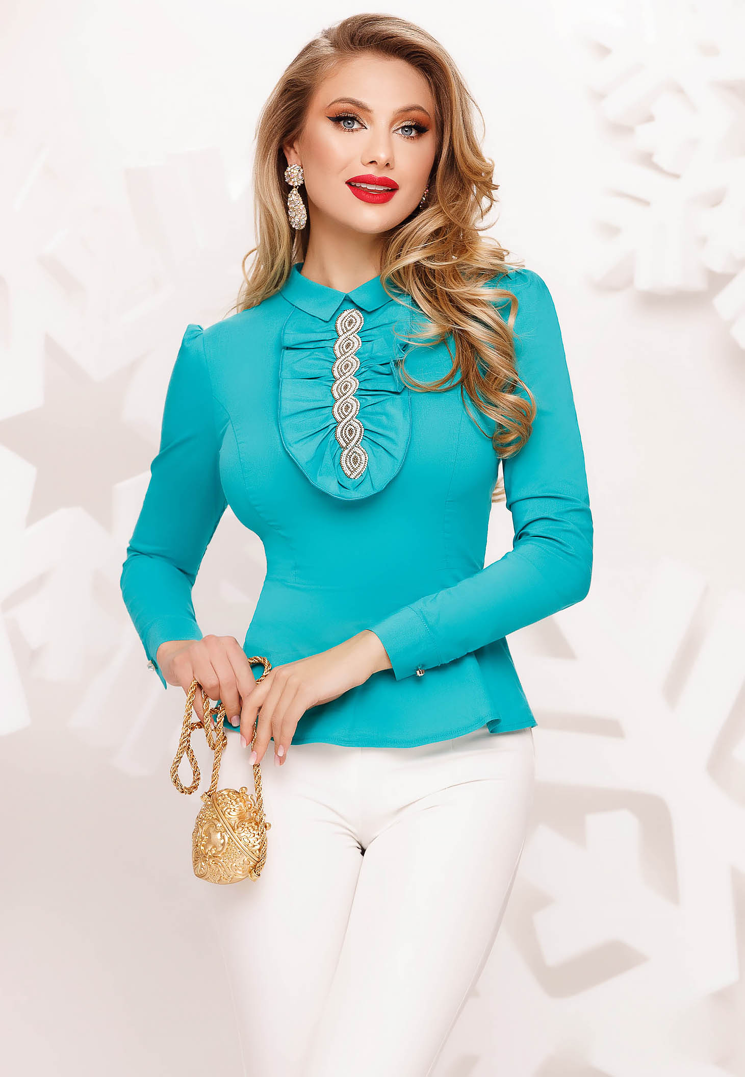 Turquoise women`s shirt office tented with ruffle details