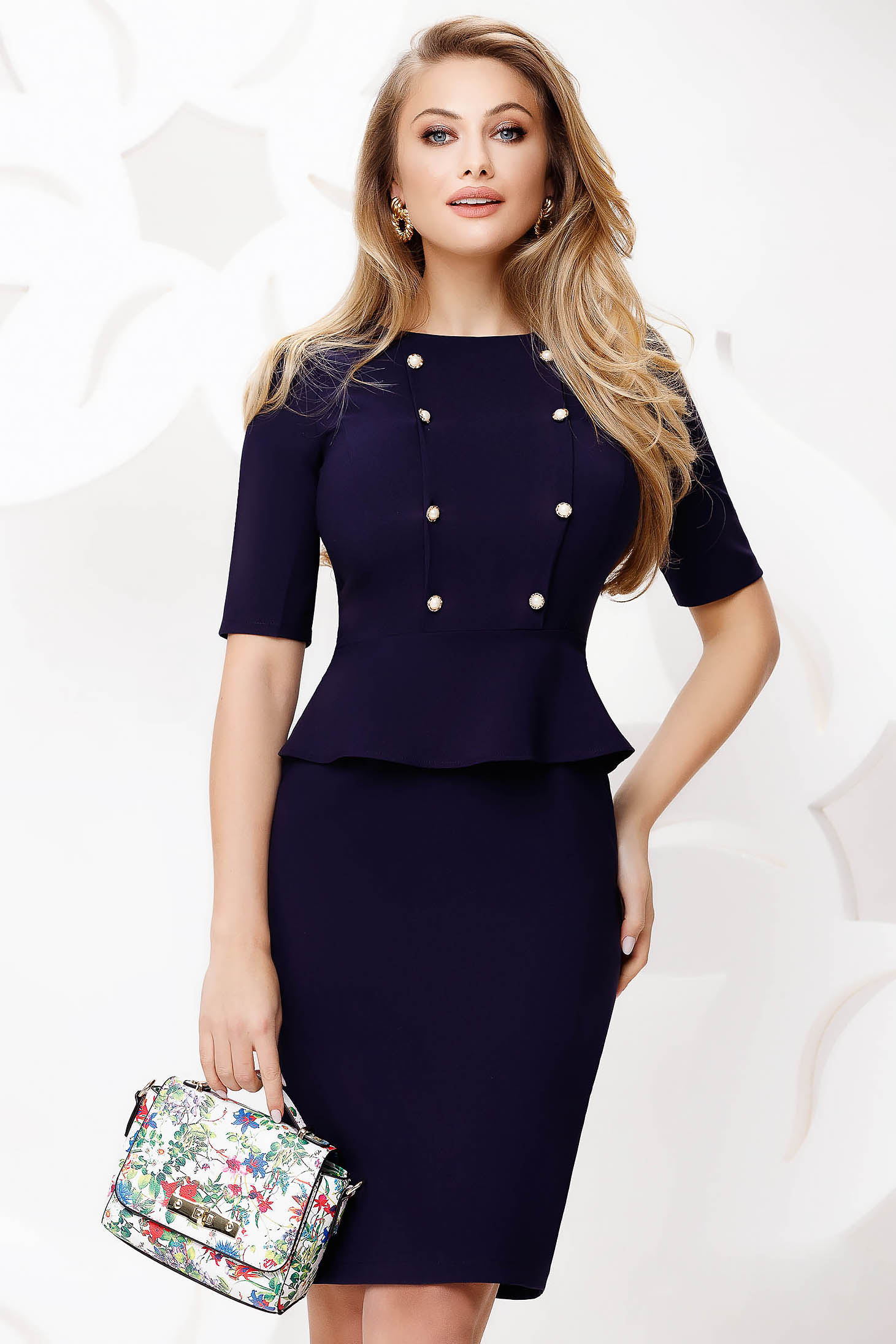 Darkblue dress pencil midi office with button accessories