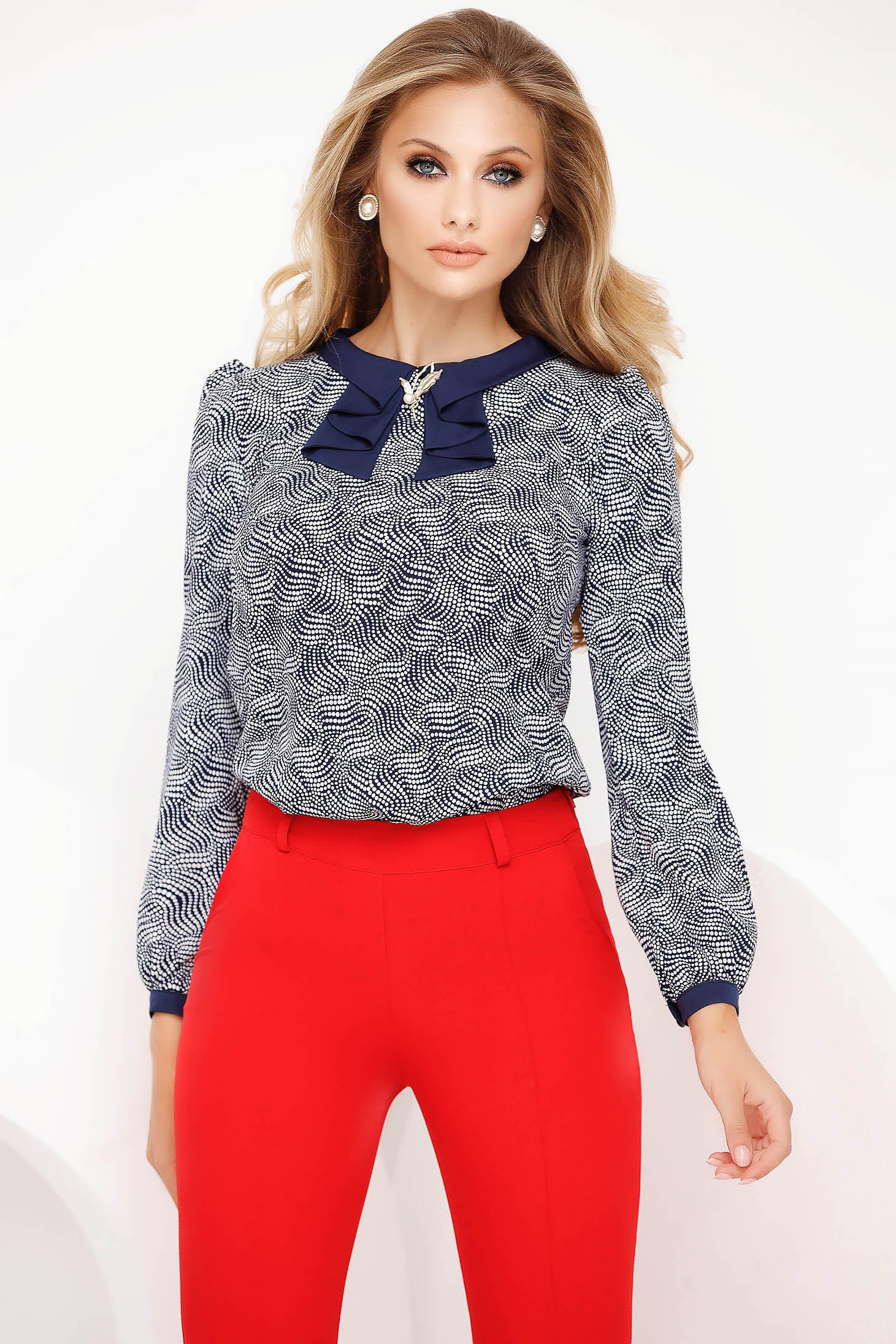 Bluza dama Fofy office cu croi larg accesorizata cu brosa