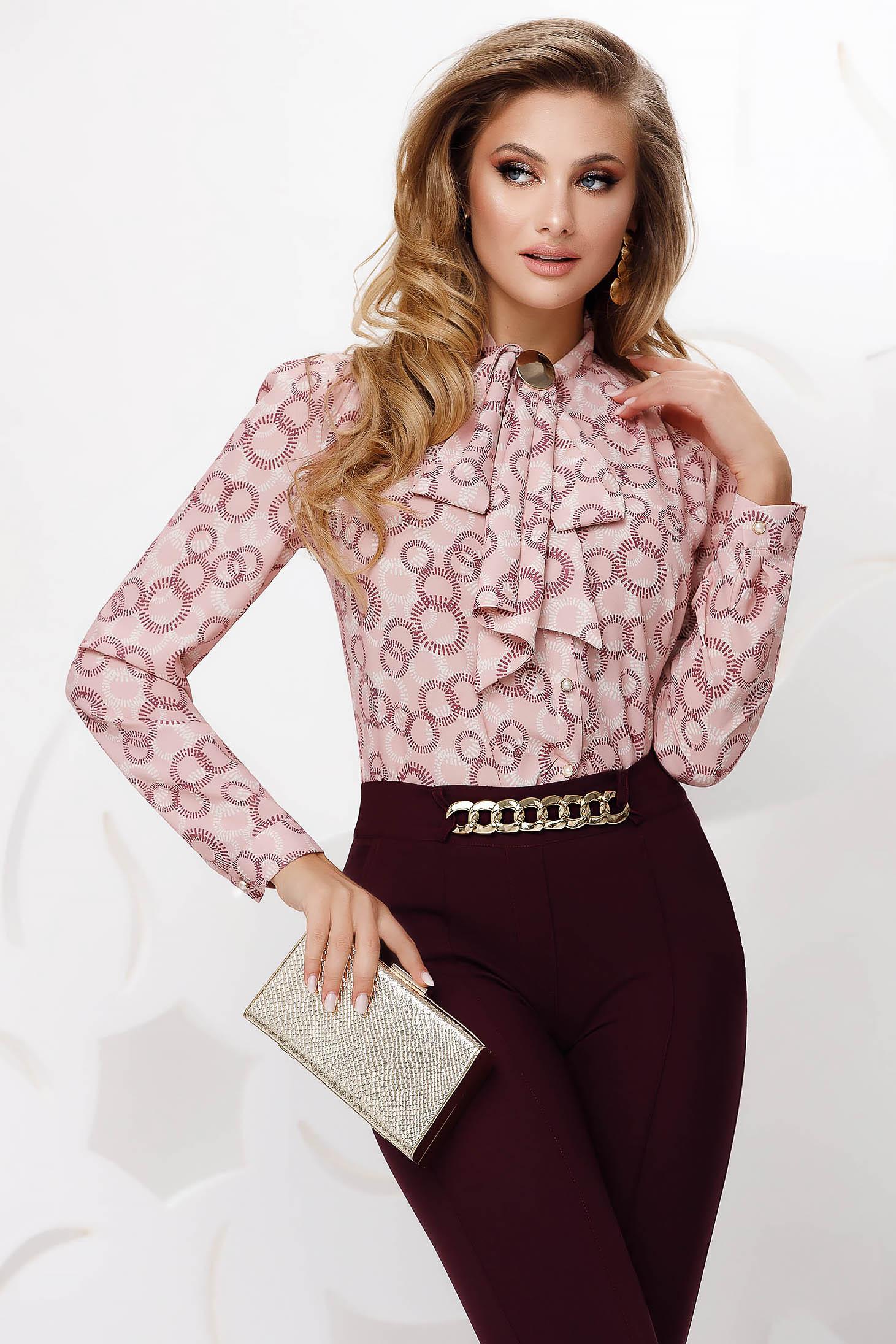 Bluza dama Fofy roz office din voal cu guler tip esarfa si croi larg