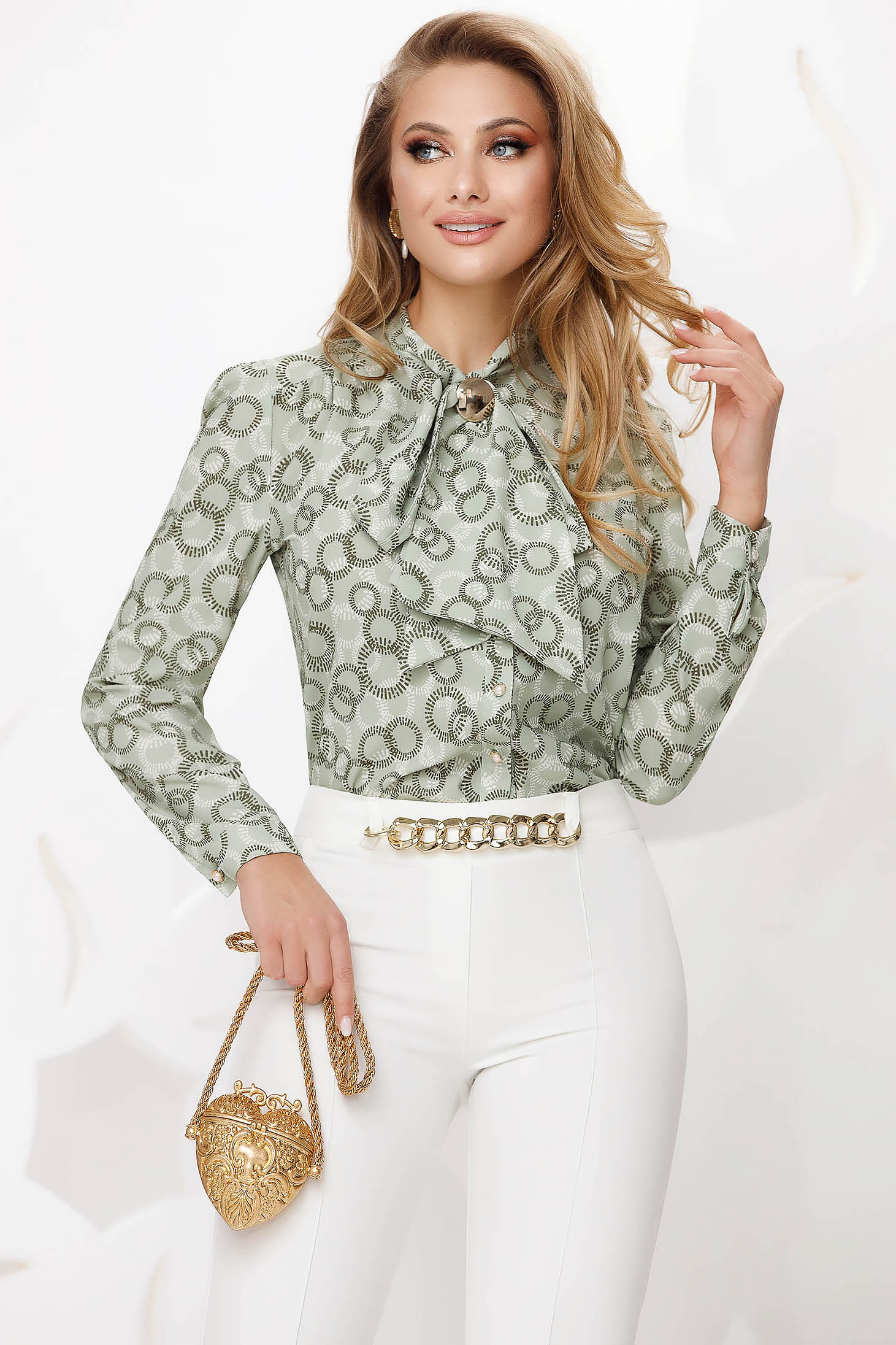Green women`s blouse office from veil fabric loose fit