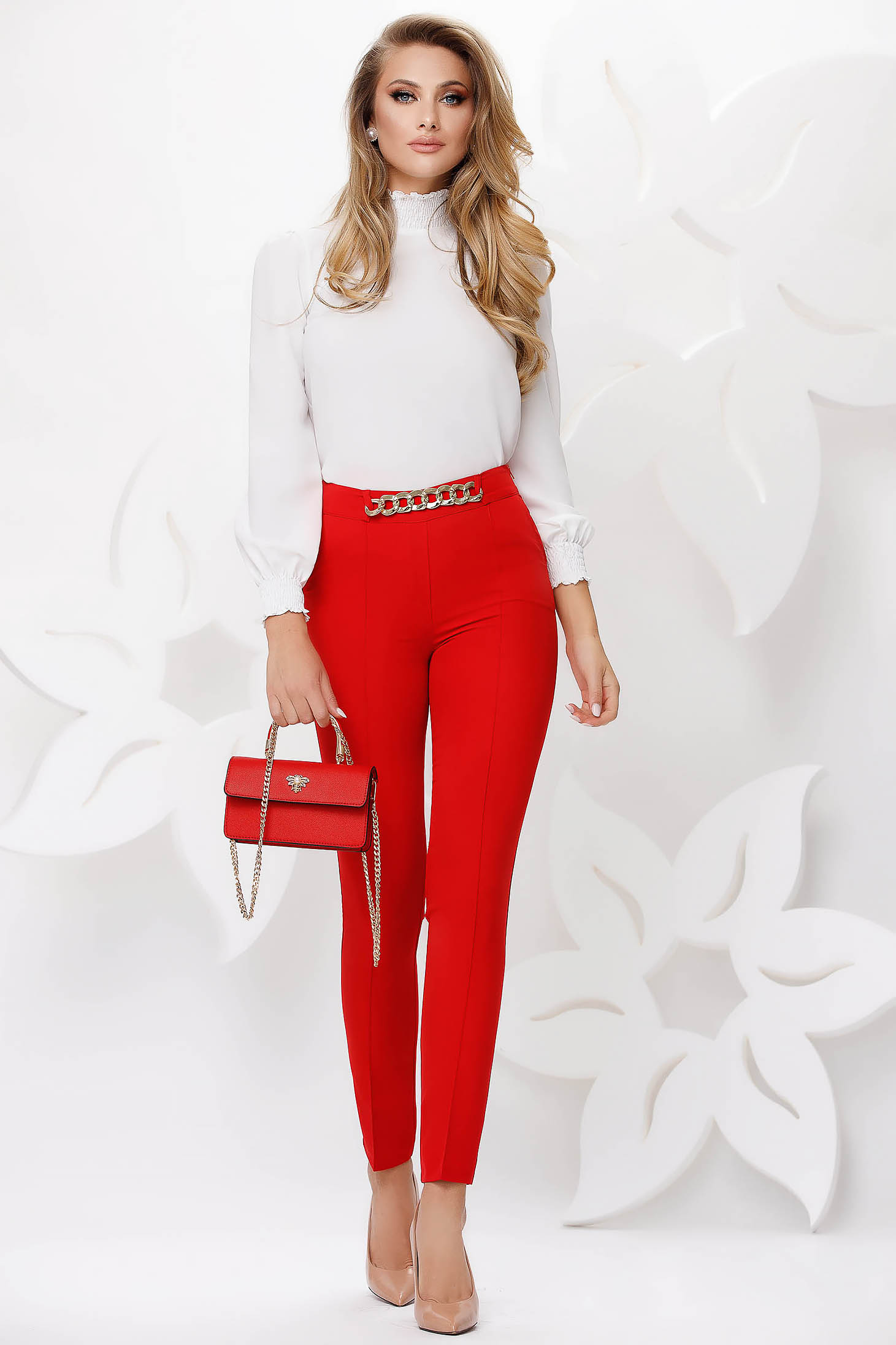Red trousers office conical metallic chain accessory