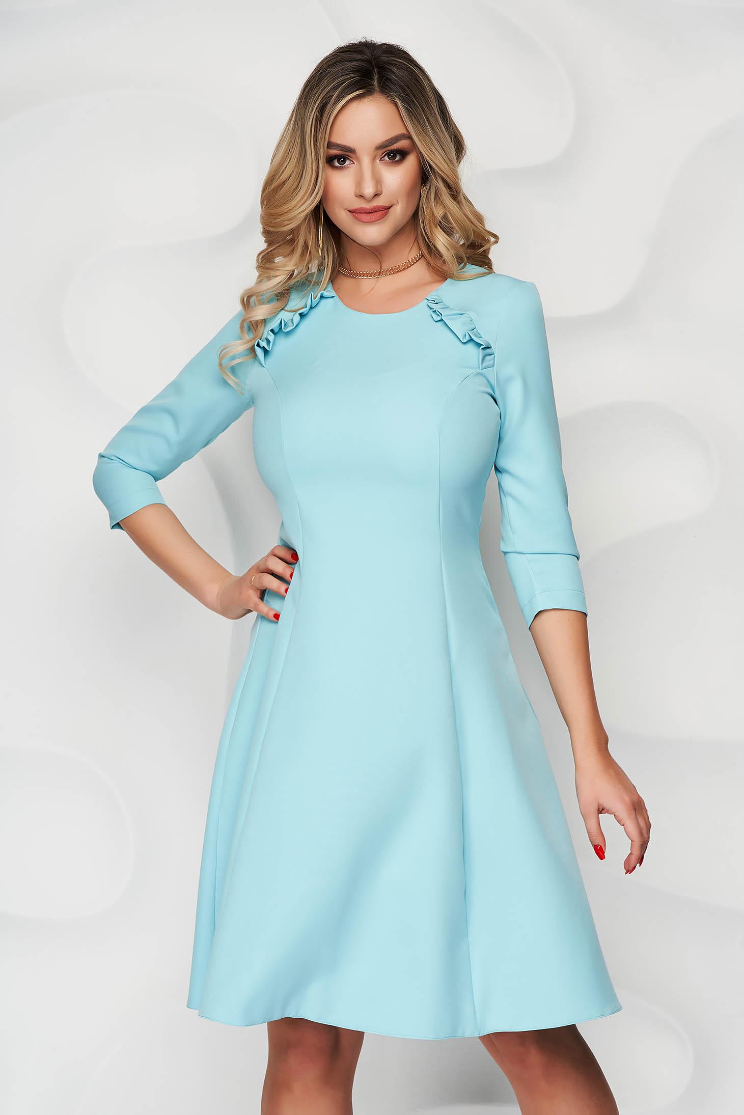 Rochie StarShinerS albastru aqua office midi in clos din stofa usor elastica cu volanase