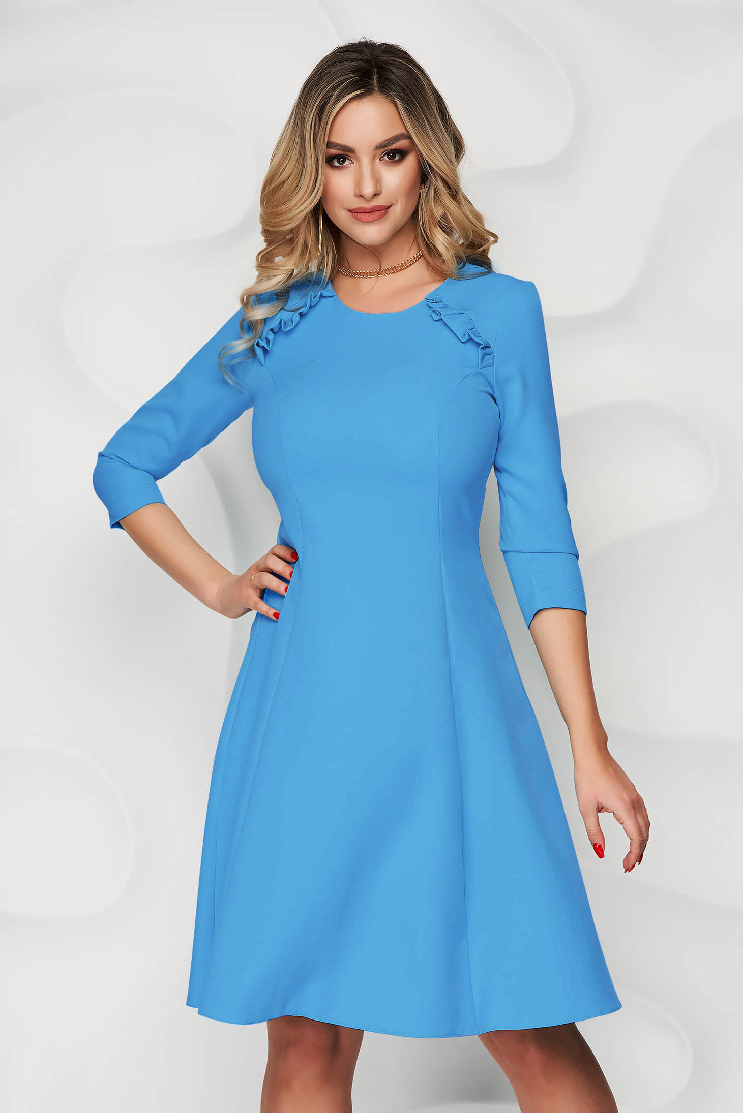 StarShinerS blue office midi cloche dress slightly elastic fabric with ruffle details