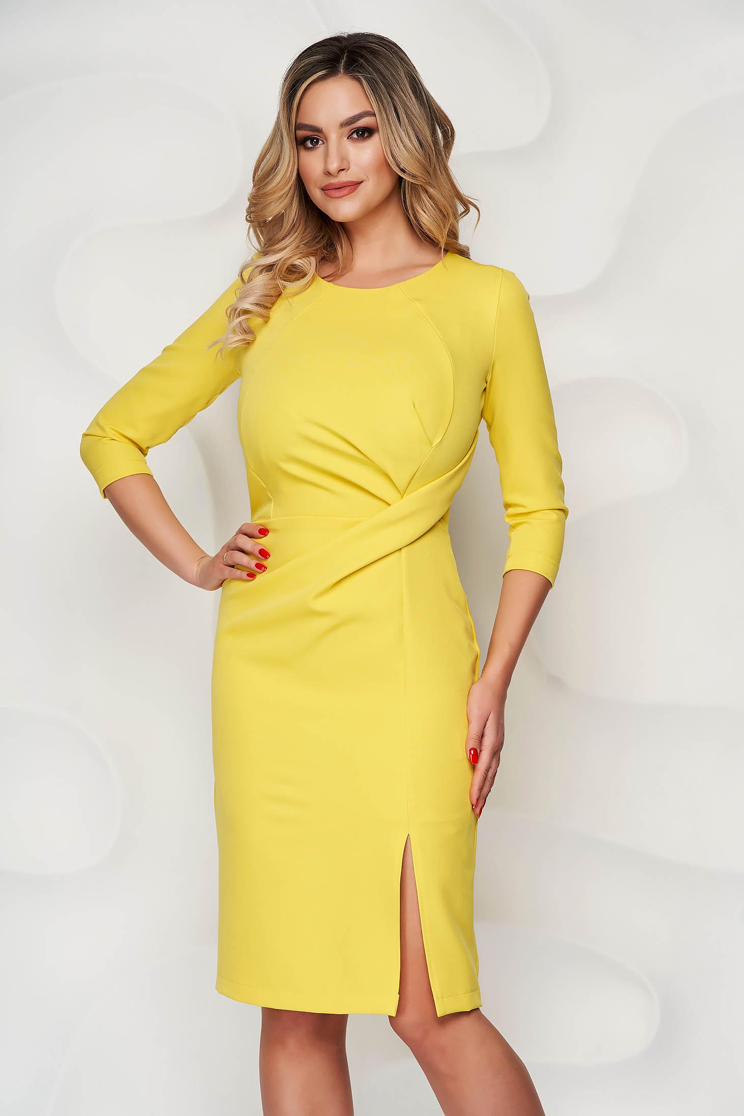 StarShinerS yellow dress office midi pencil slightly elastic fabric slit