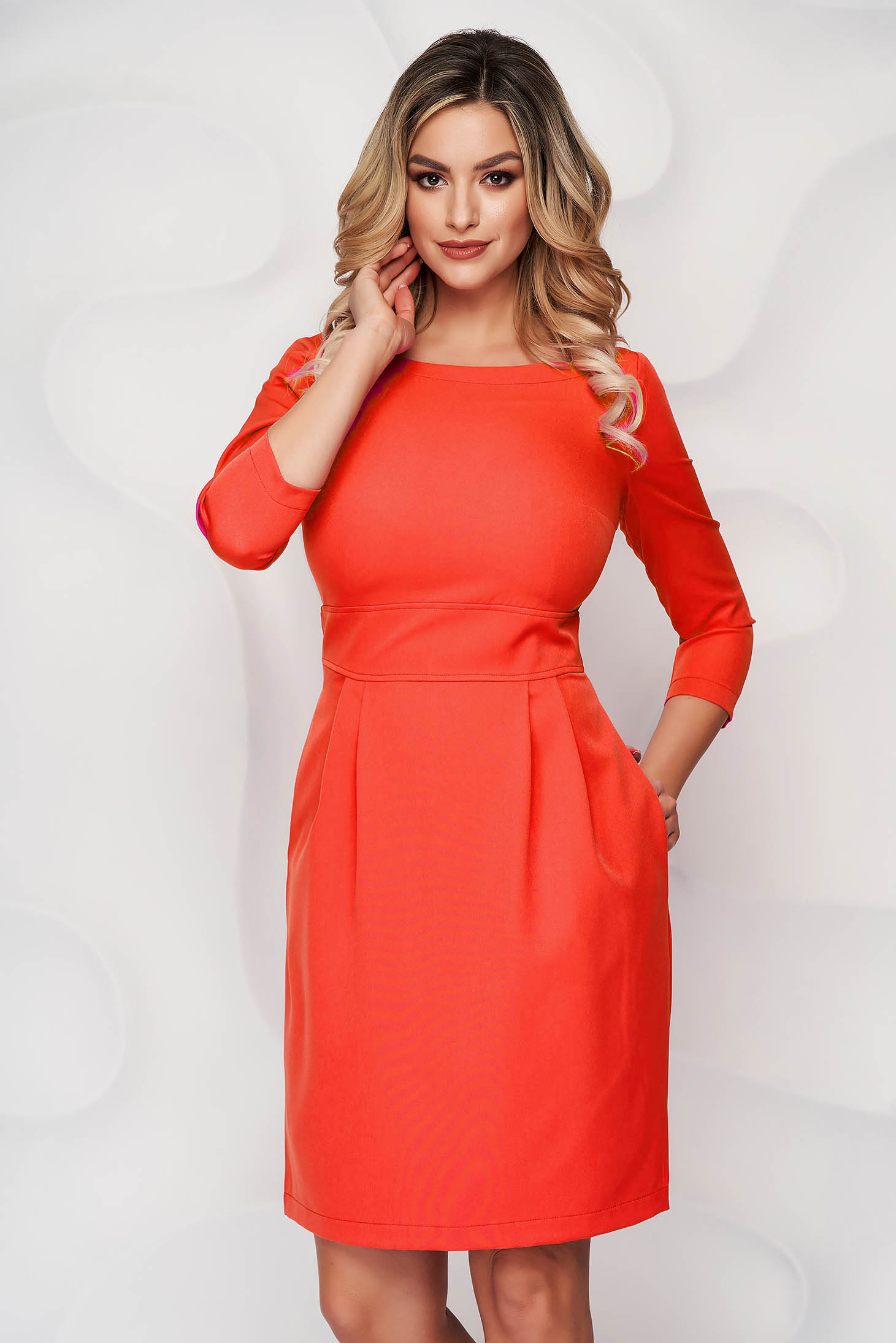 StarShinerS orange dress slightly elastic fabric with pockets short cut a-line