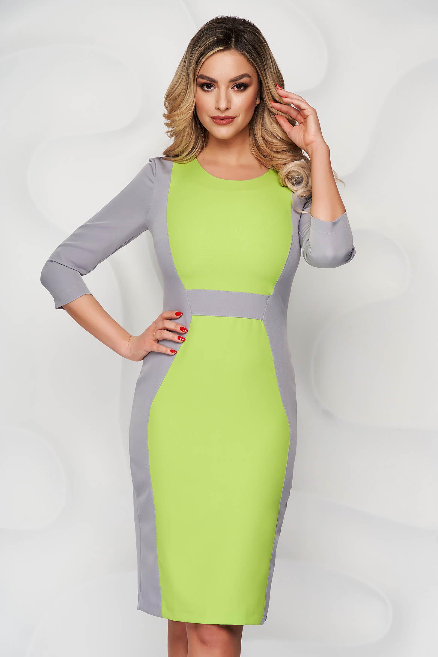StarShinerS grey elegant midi cloth dress with 3/4 sleeves