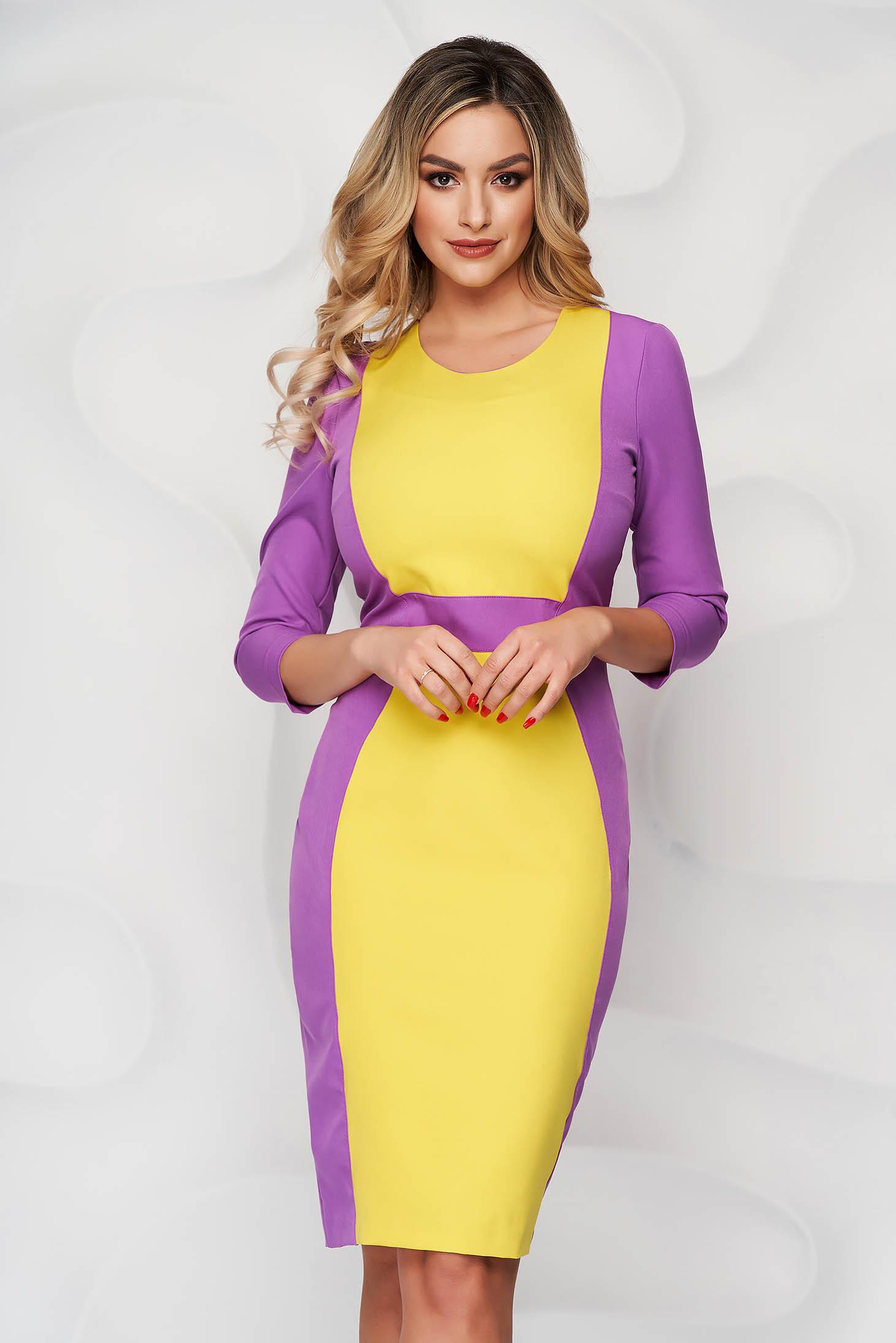 StarShinerS purple elegant midi cloth dress with 3/4 sleeves