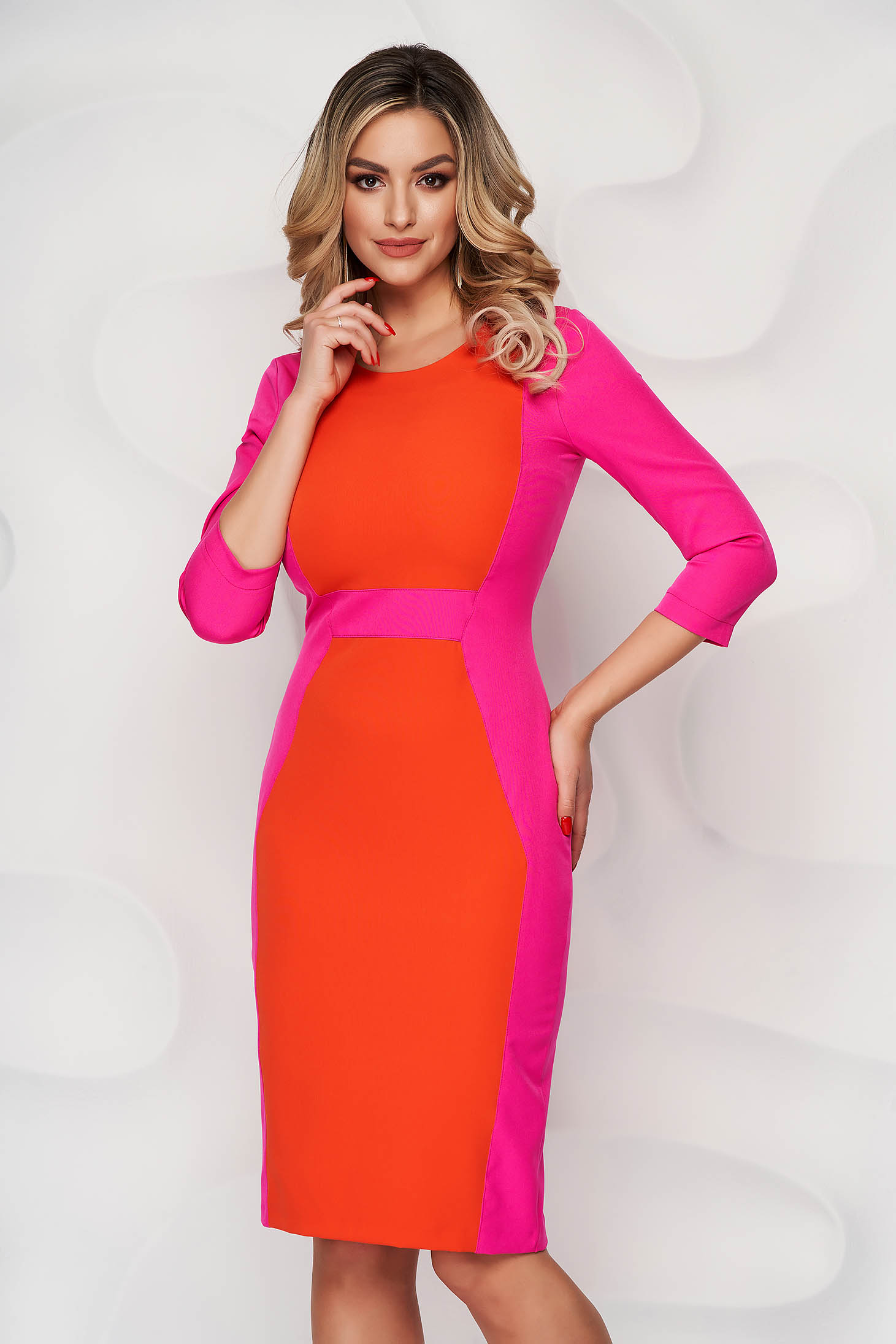 Rochie StarShinerS fuchsia cu portocaliu eleganta midi din stofa cu maneci trei-sferturi