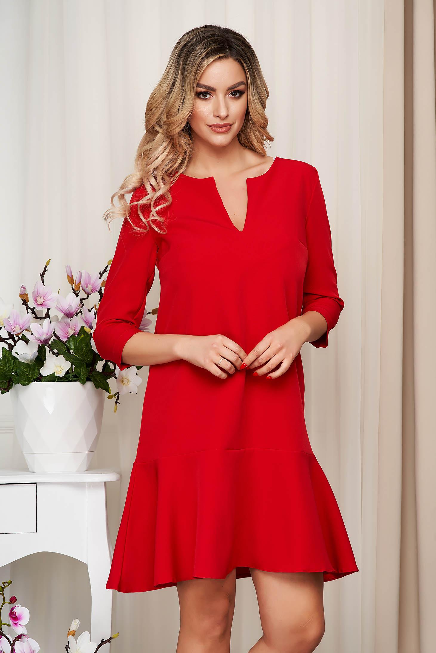 Rochie StarShinerS rosie scurta cu croi larg din stofa cu maneci trei-sferturi