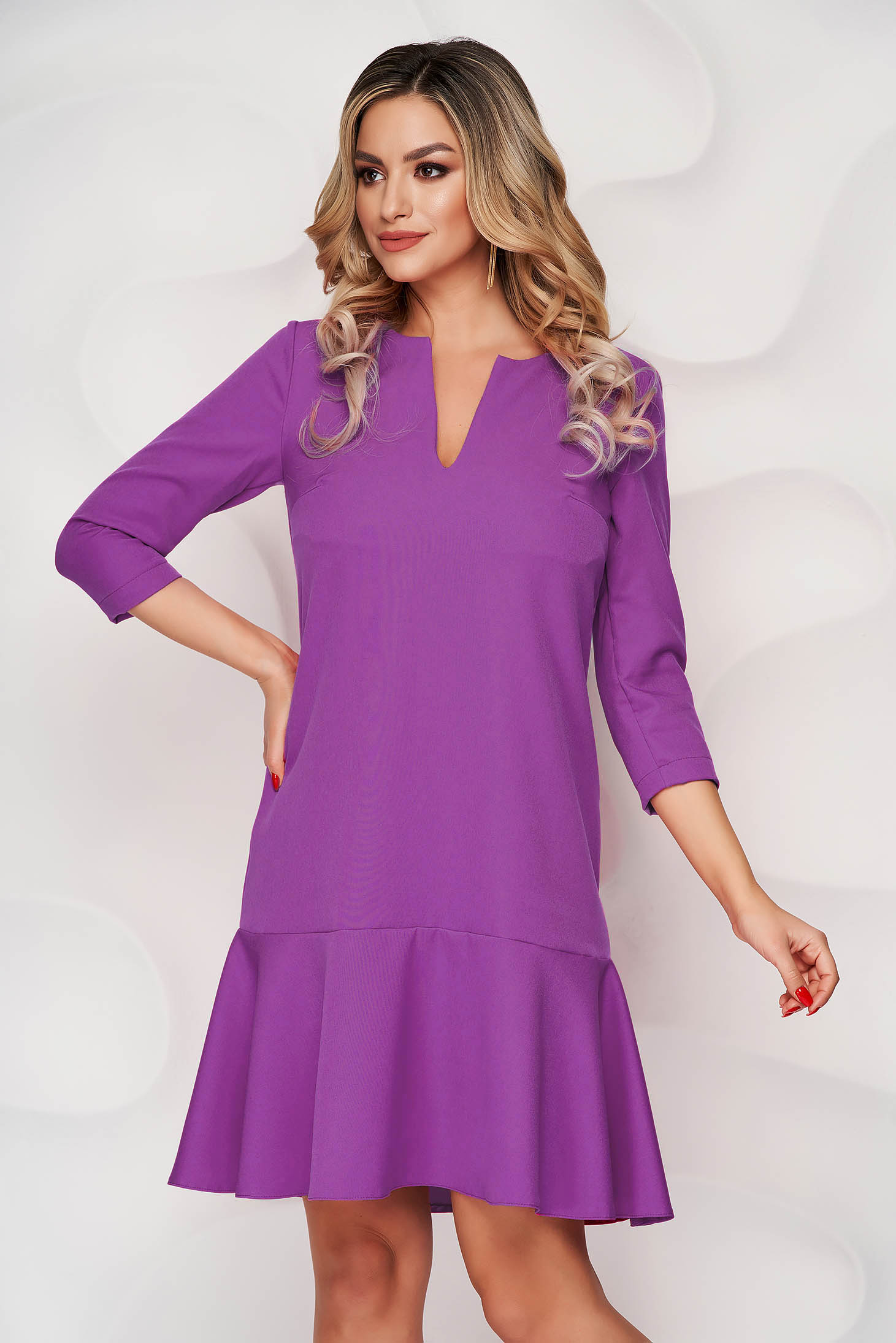 StarShinerS purple short cut loose fit cloth dress with 3/4 sleeves