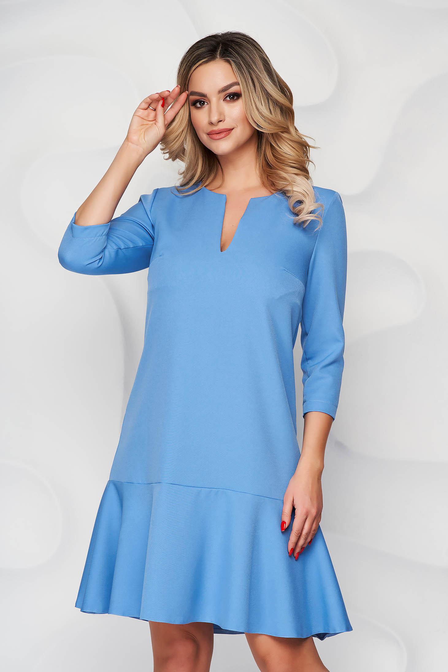 Kék StarShinerS bő szabású ruha rövid szövetből háromnegyedes ujjakkal