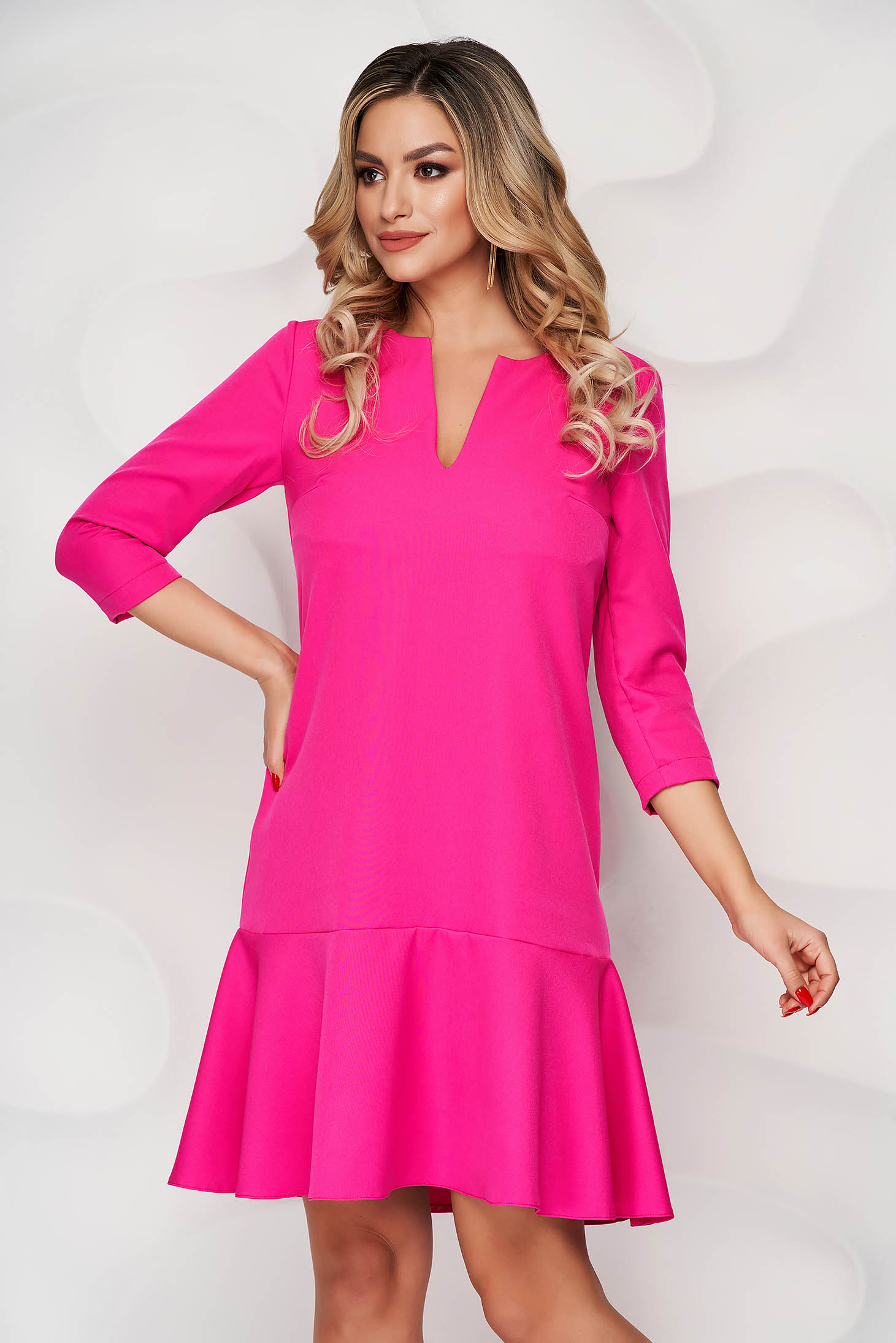 StarShinerS fuchsia short cut loose fit cloth dress with 3/4 sleeves