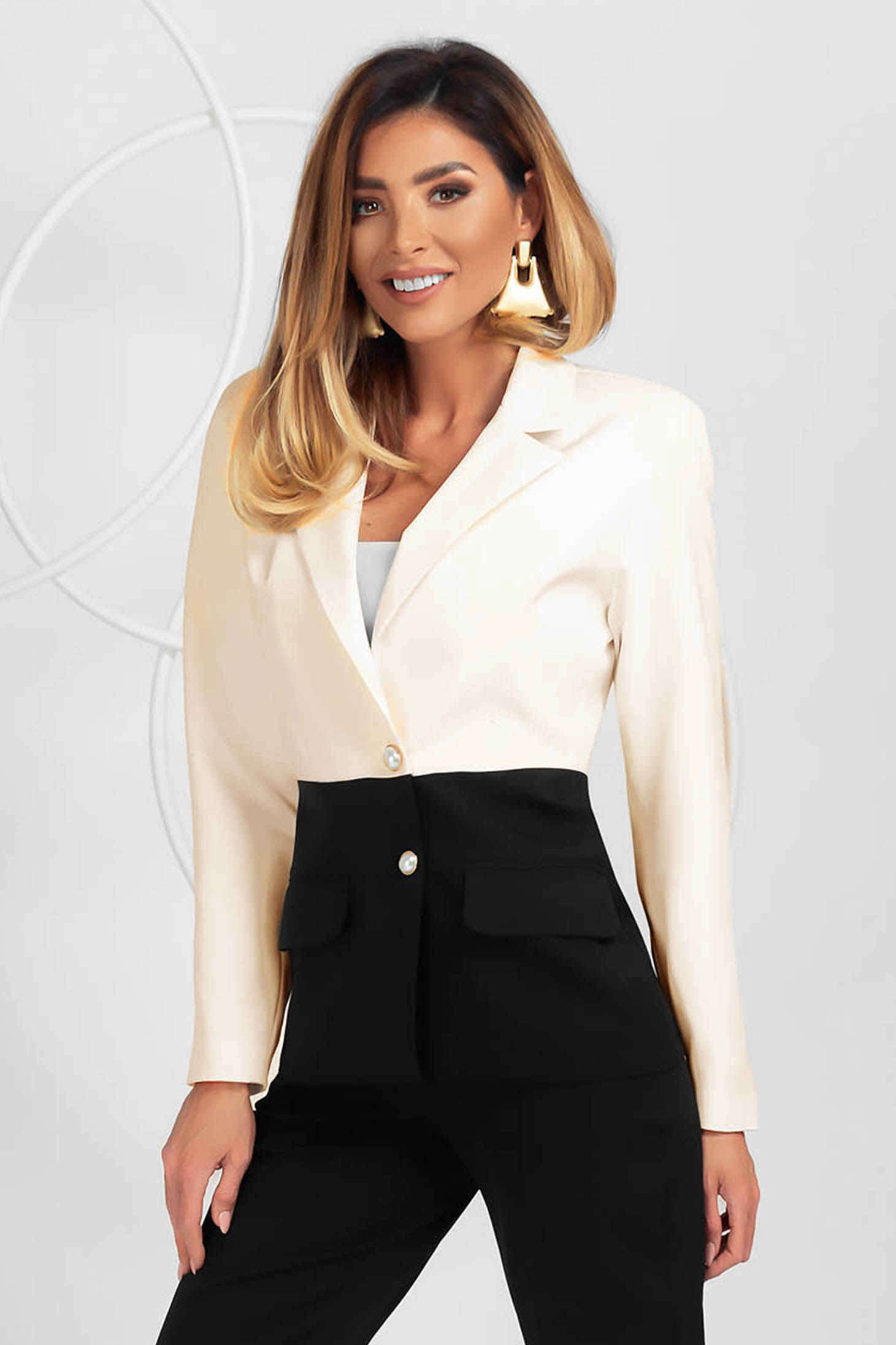 Jacket black office slightly elastic fabric with padded shoulders tented