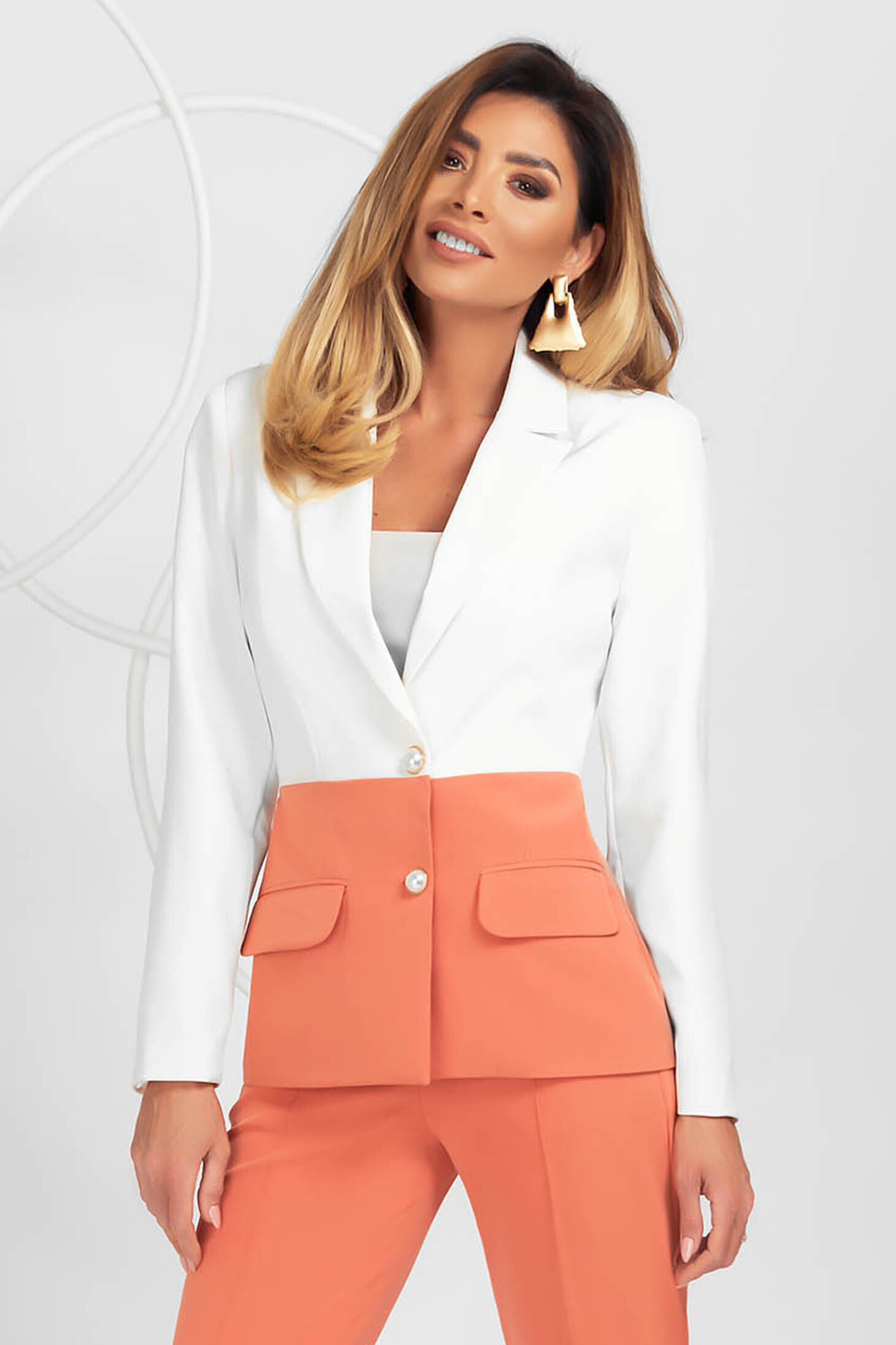 Jacket coral office slightly elastic fabric with padded shoulders tented