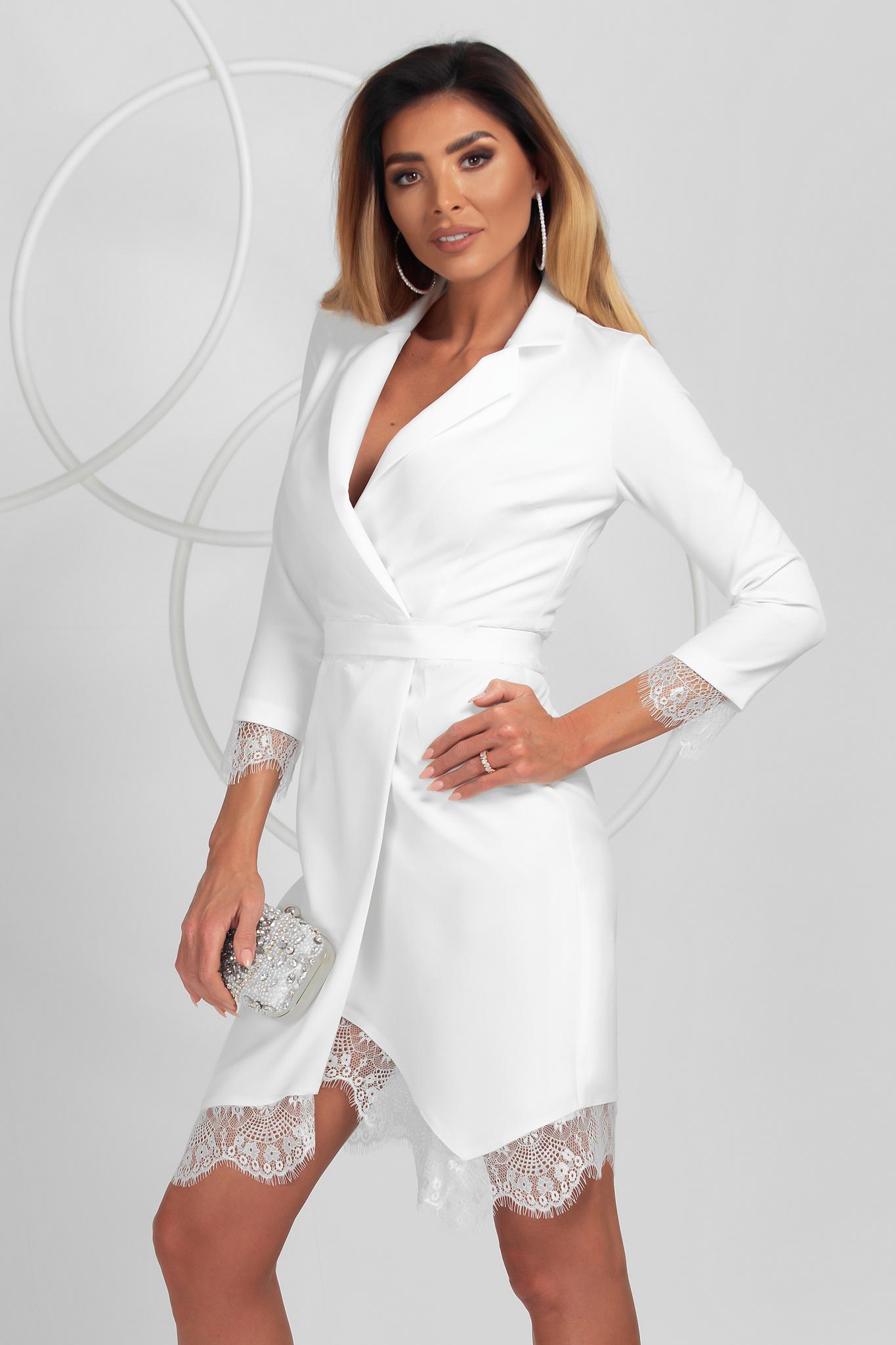 Fehér elegáns ceruza ruha enyhén rugalmas anyagból csipke díszítéssel