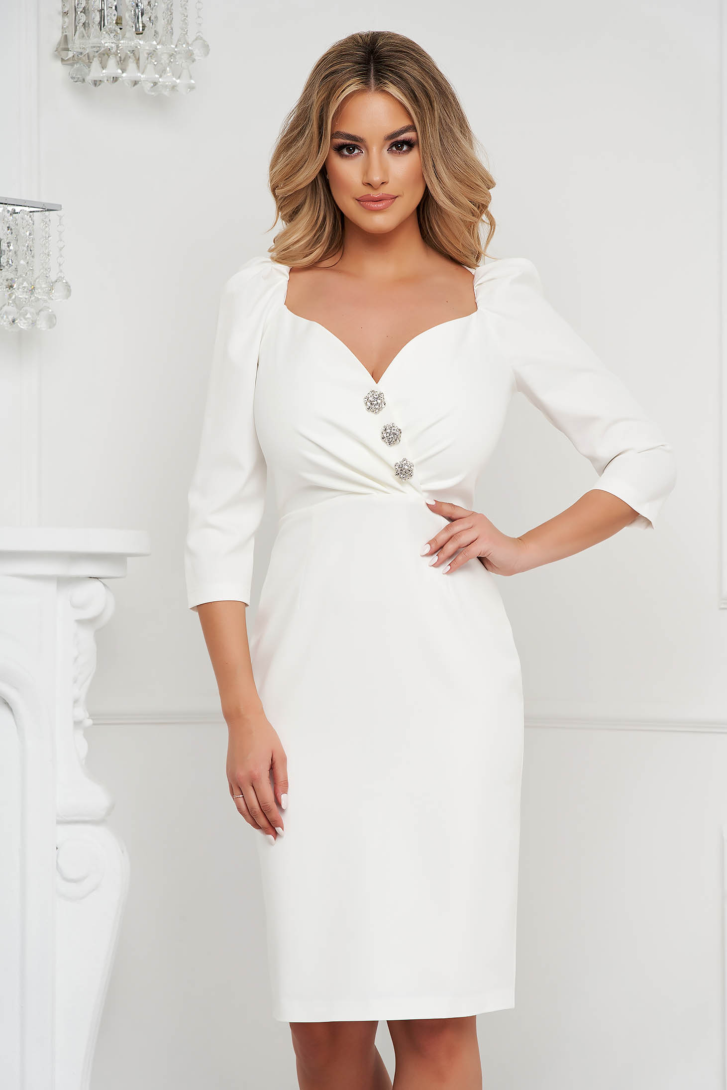 Dress white elegant midi pencil buttons with shiny stones