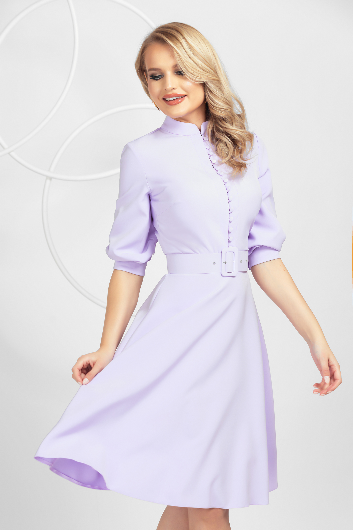 Dress lila office midi cloche slightly elastic fabric with button accessories