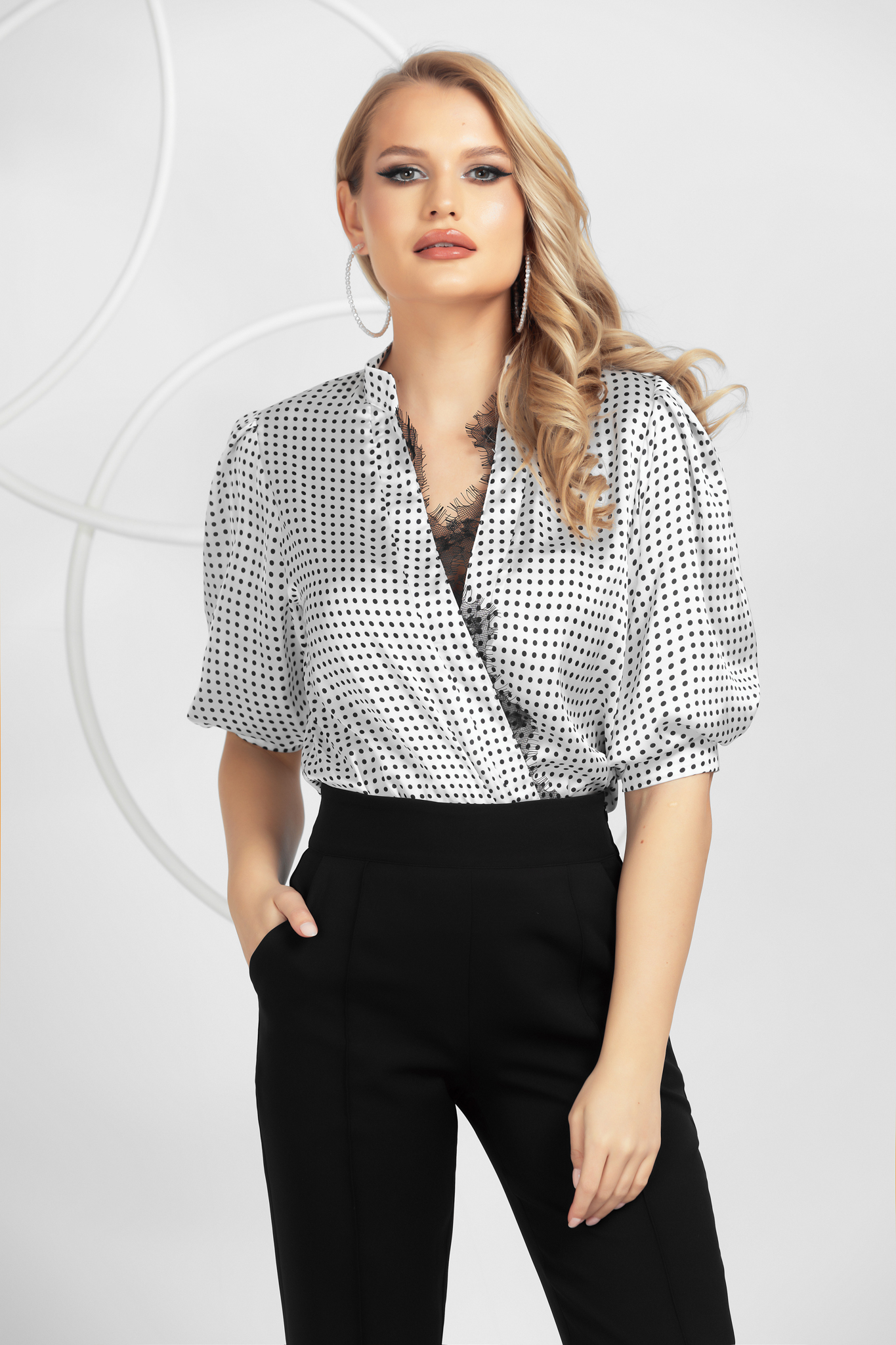 Body white dots print office from satin with lace details