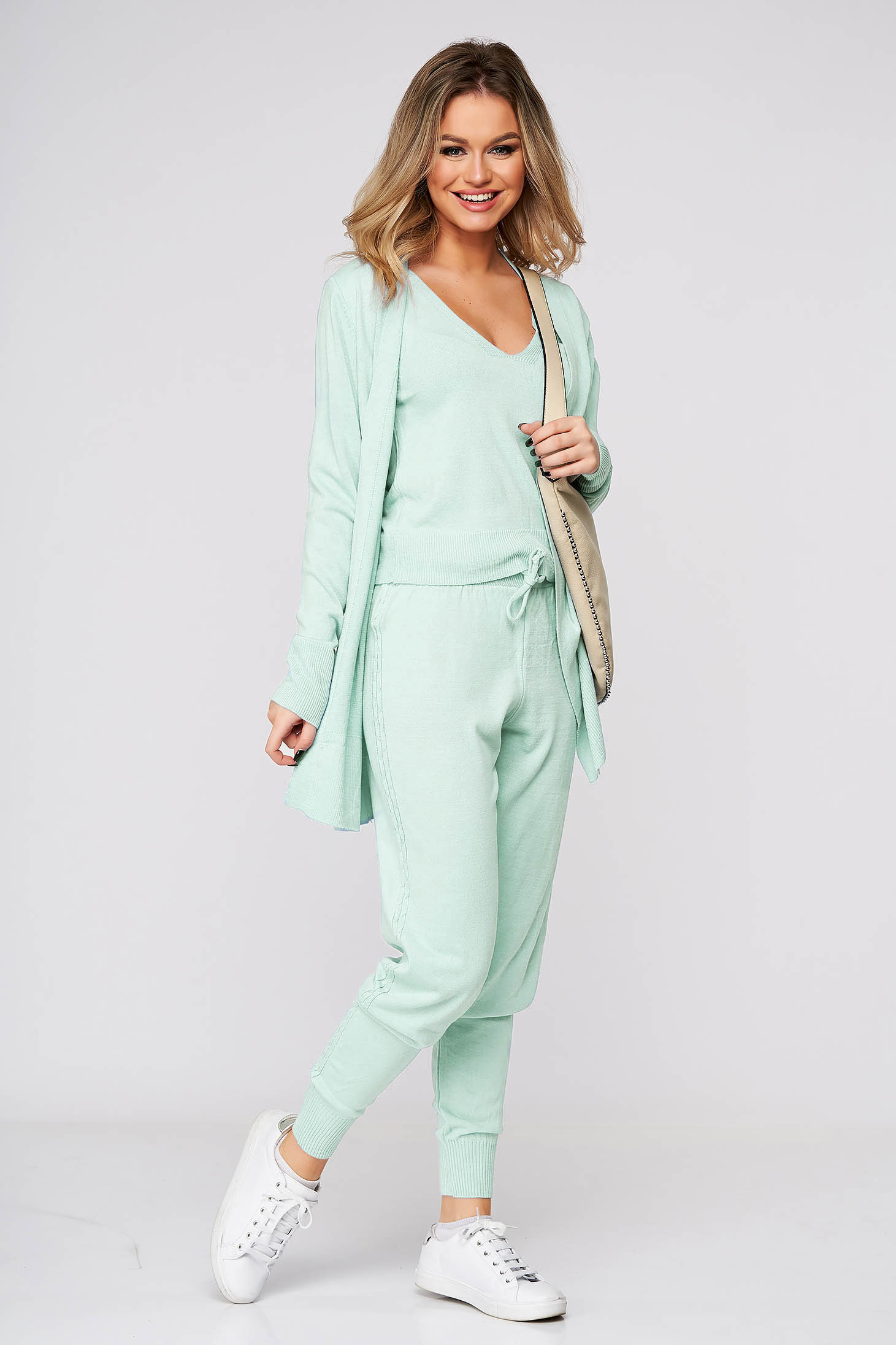 Trening SunShine mint din trei piese casual din material tricotat