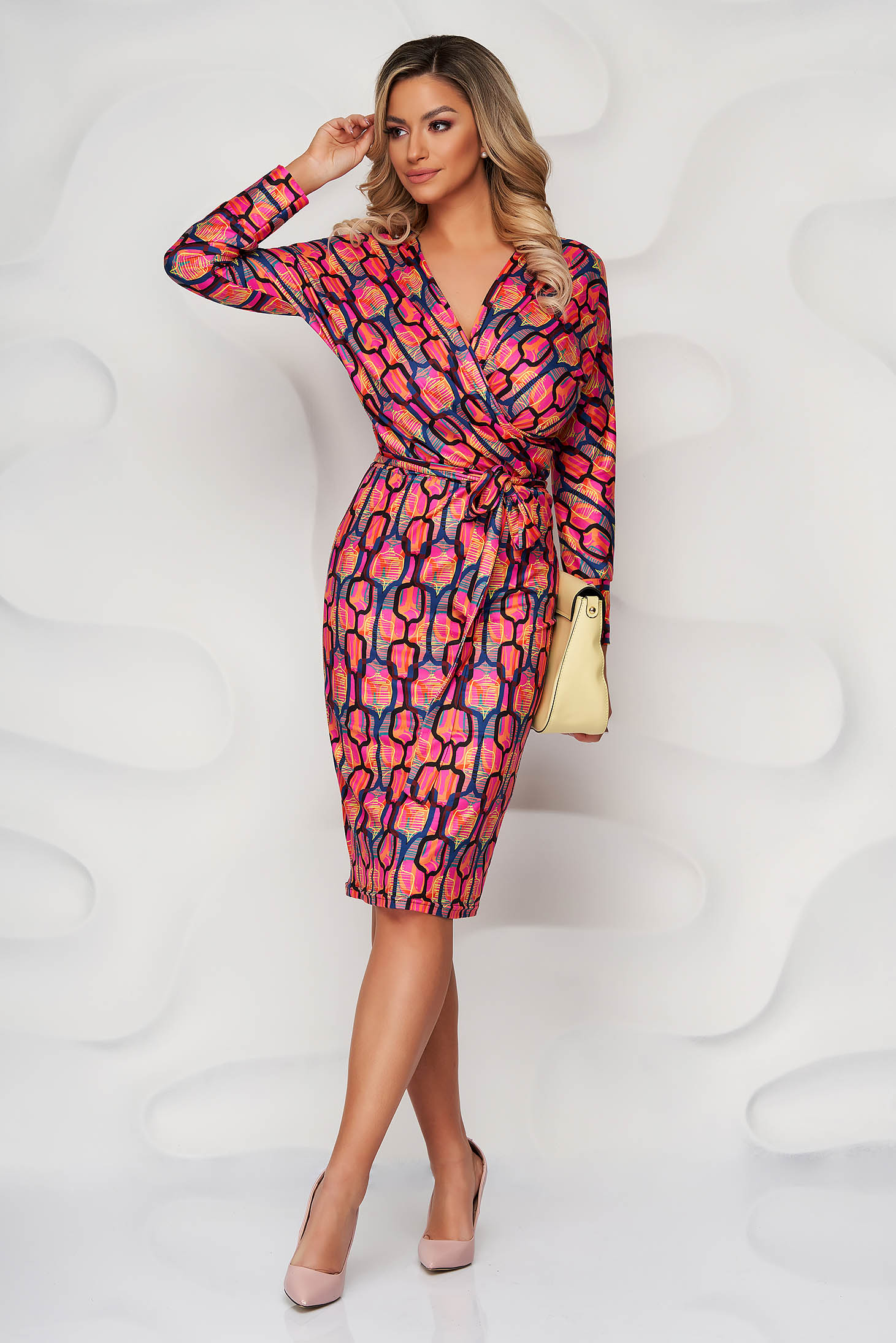 StarShinerS orange from elastic and fine fabric wrap over front pencil dress accessorized with tied waistband