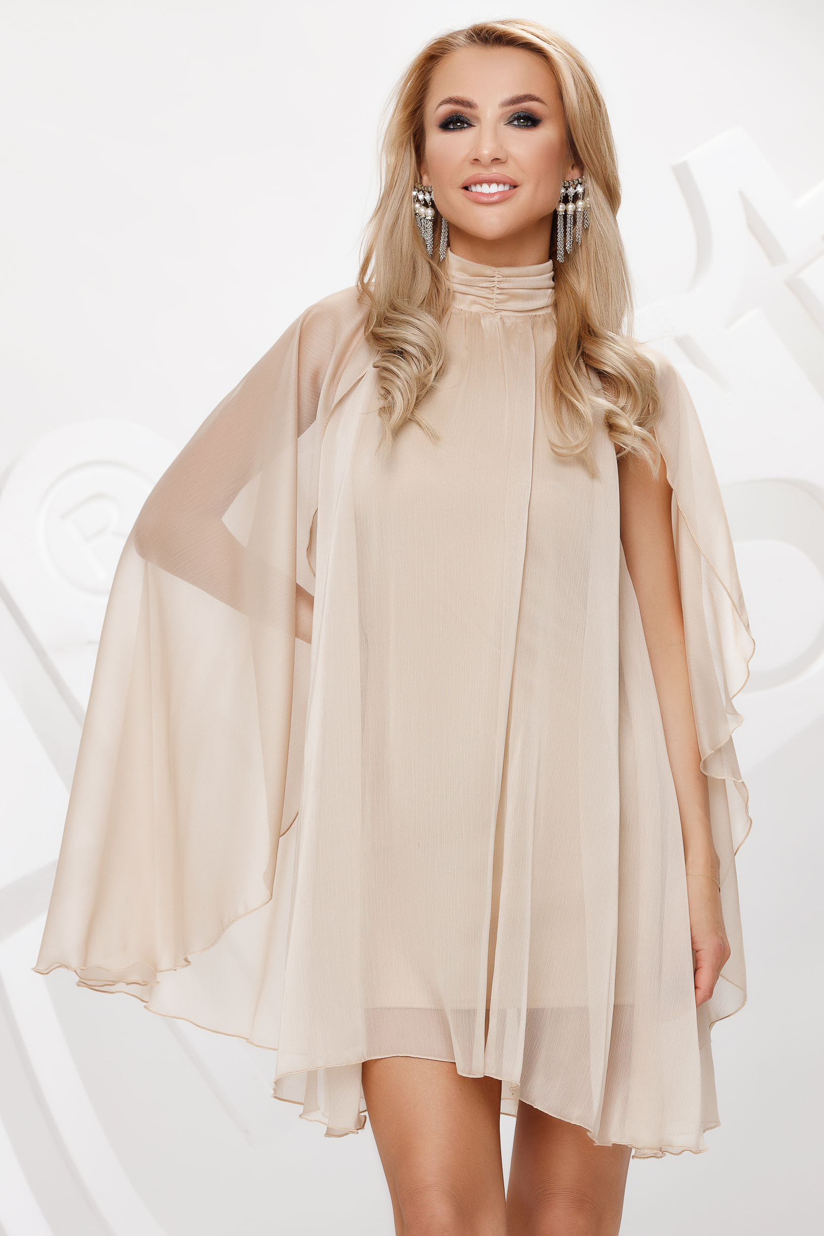 Cream from veil fabric with turtle neck short cut occasional dress