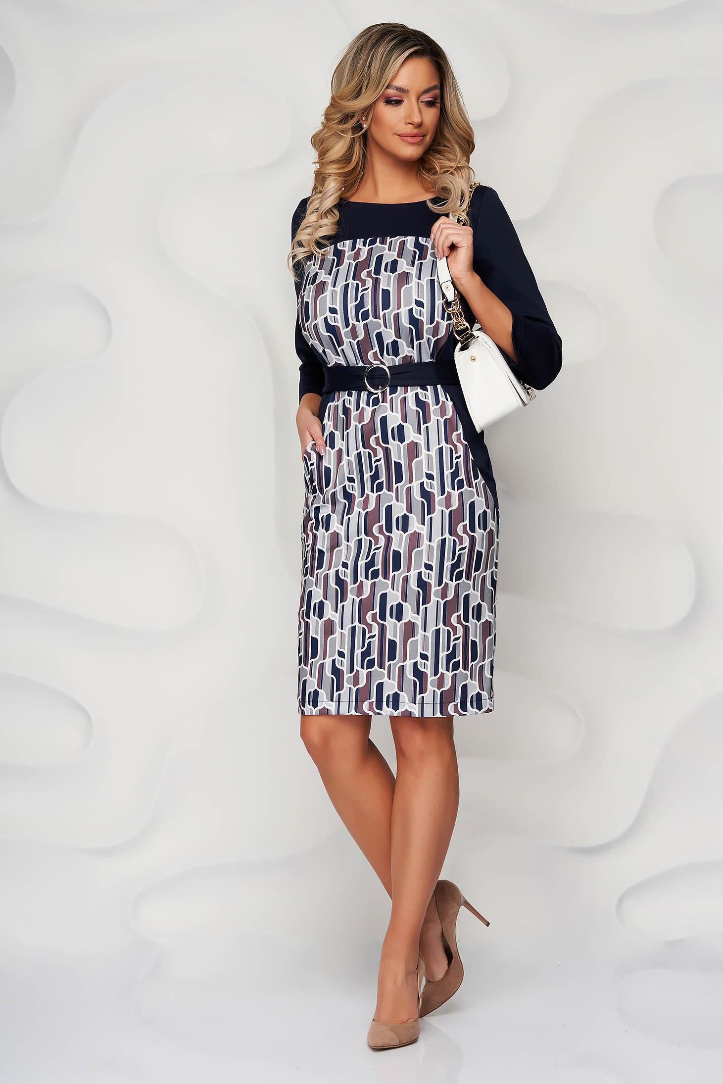 StarShinerS darkblue dress midi pencil with graphic details slightly elastic fabric