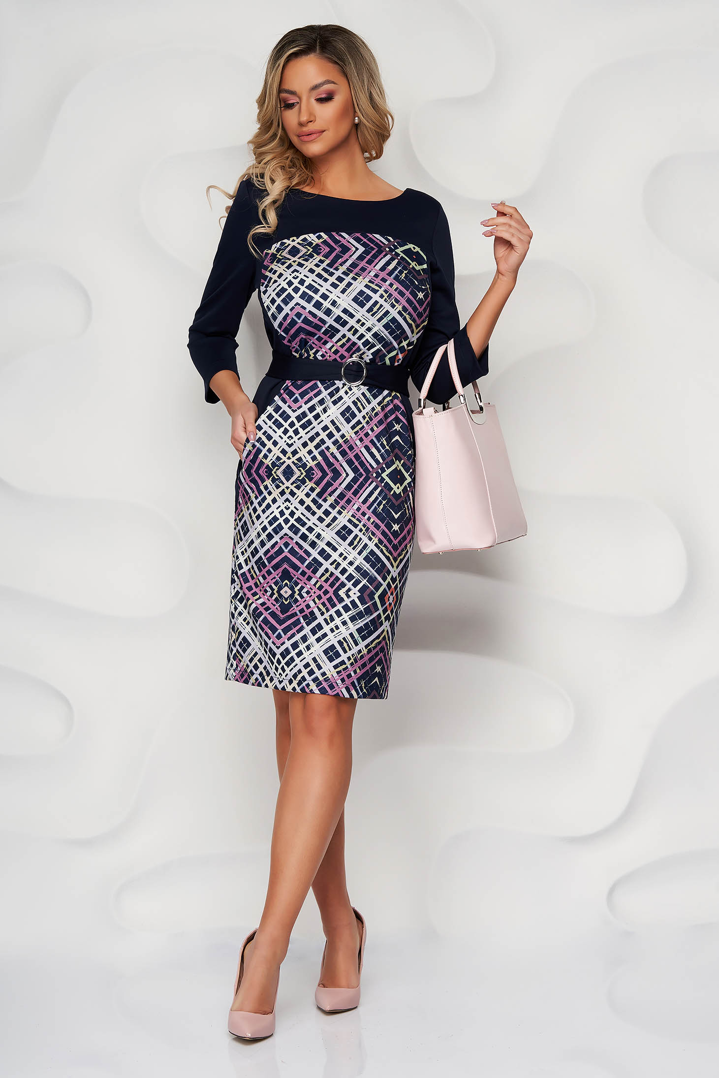 StarShinerS pink dress midi pencil with graphic details slightly elastic fabric