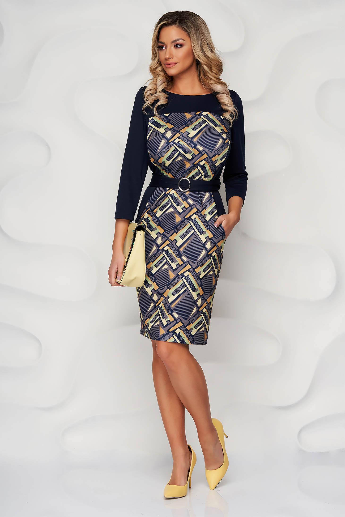 StarShinerS lightgreen dress midi pencil with graphic details slightly elastic fabric