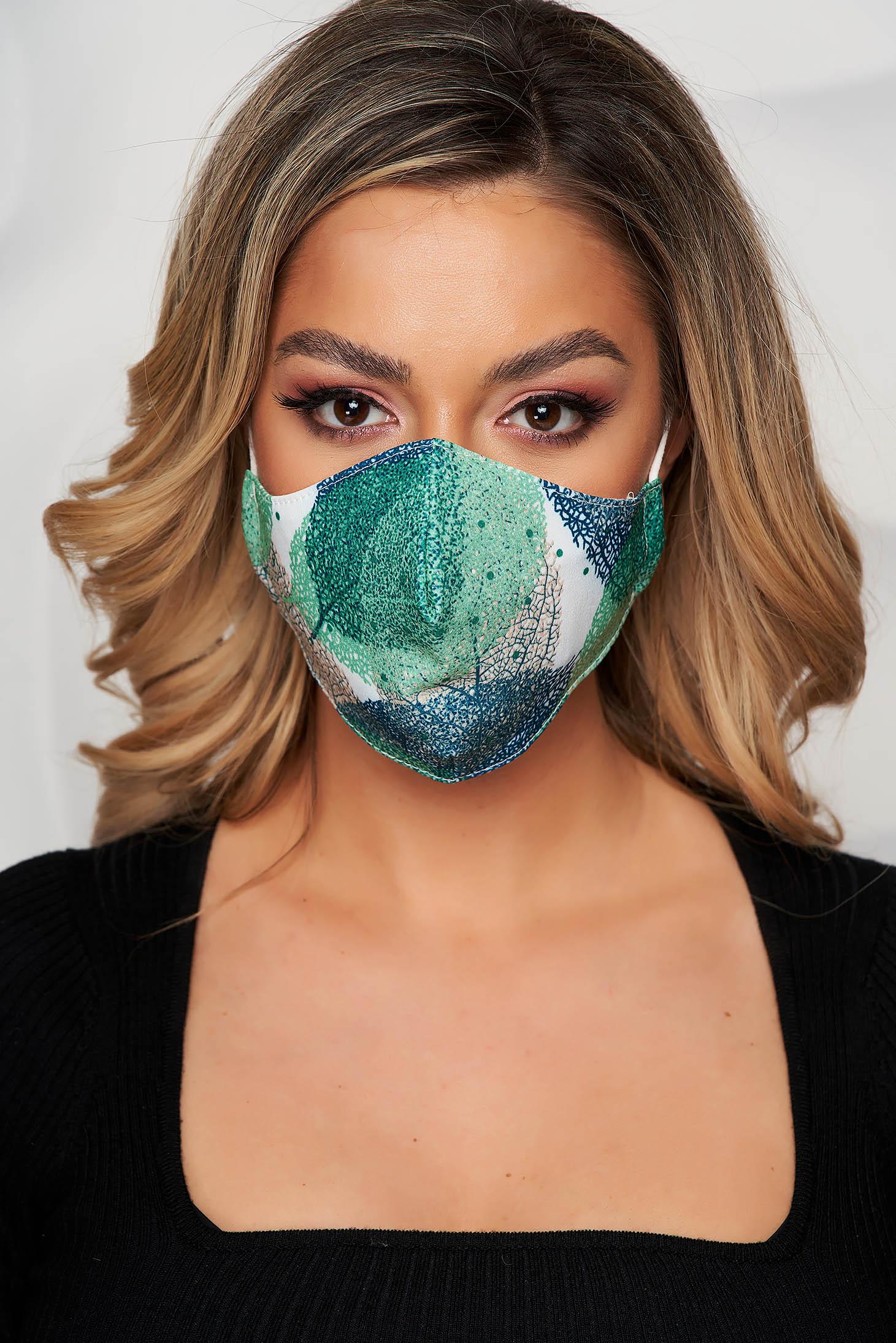 Masca textila pentru femei StarShinerS alba cu imprimeuri verzi