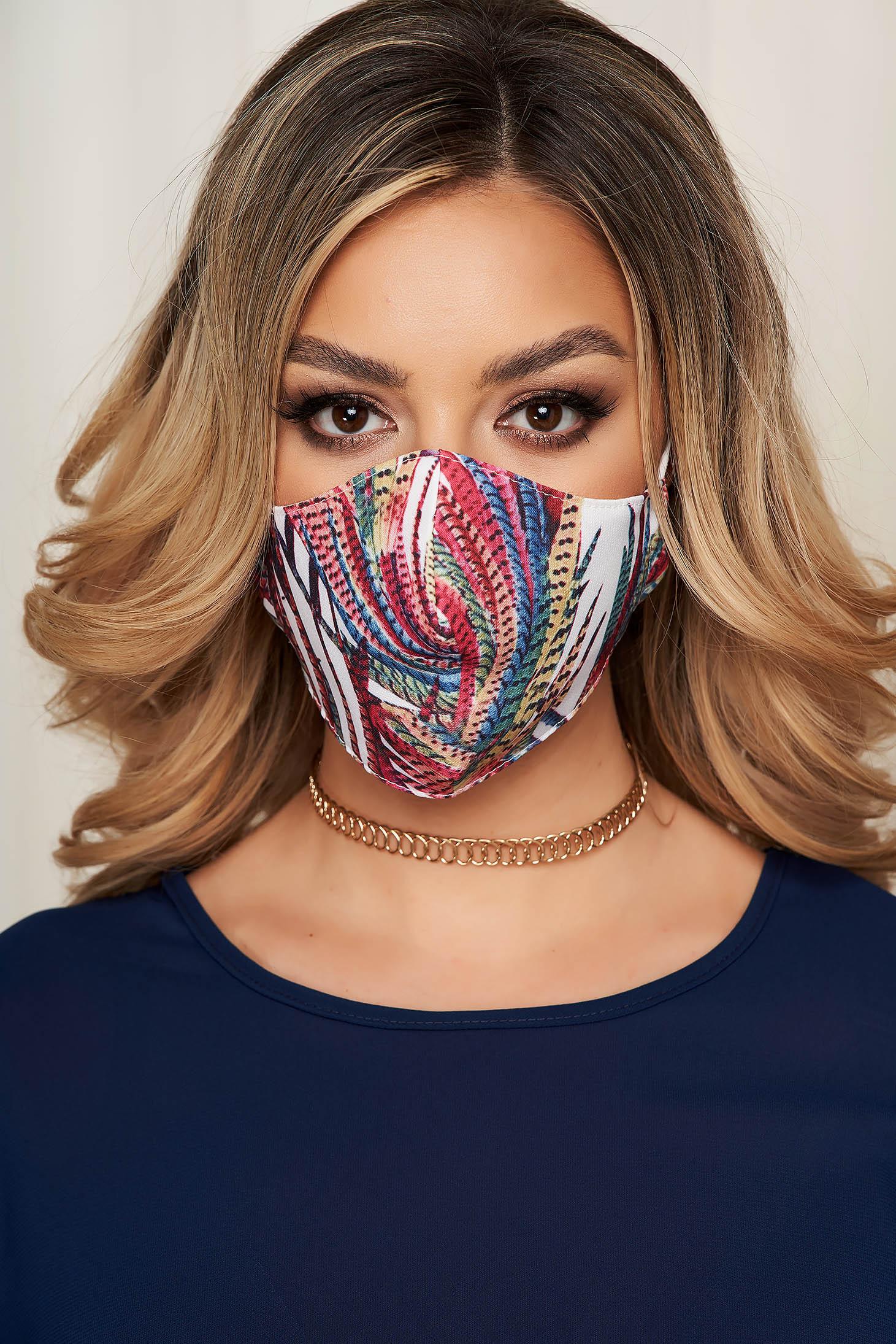 Masca textila pentru femei StarShinerS alba cu imprimeu abstract