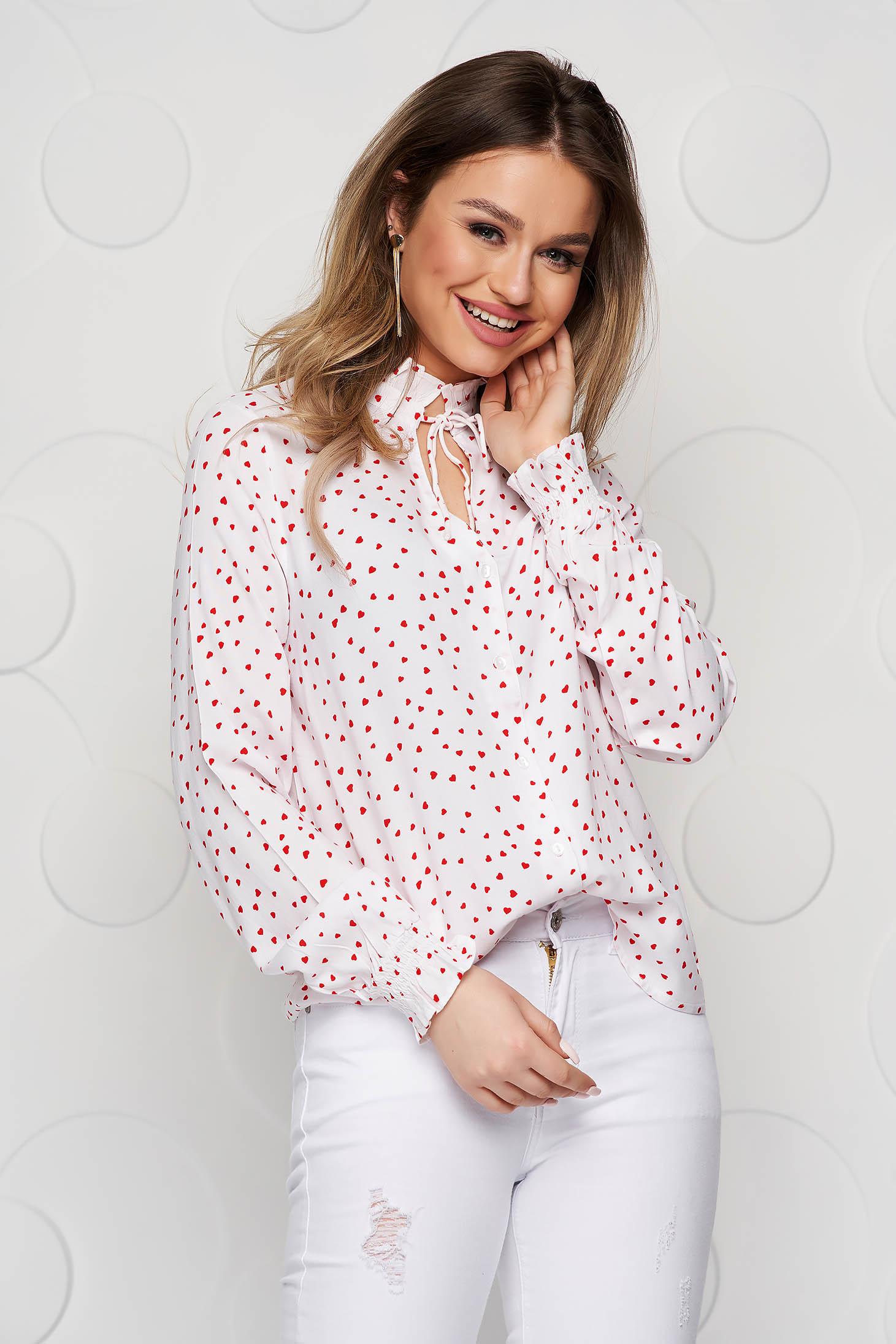 Dots print loose fit elastic held sleeves black women`s shirt