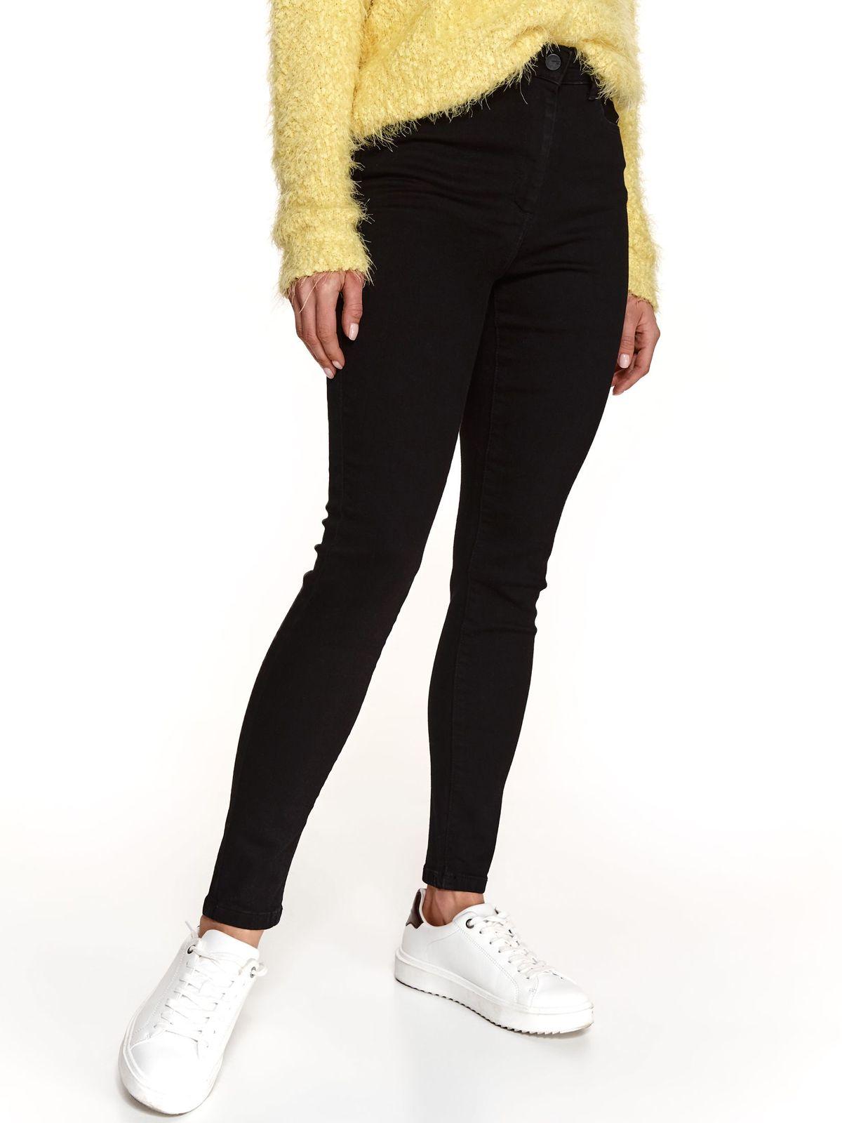 Denim slightly elastic cotton high waisted black trousers