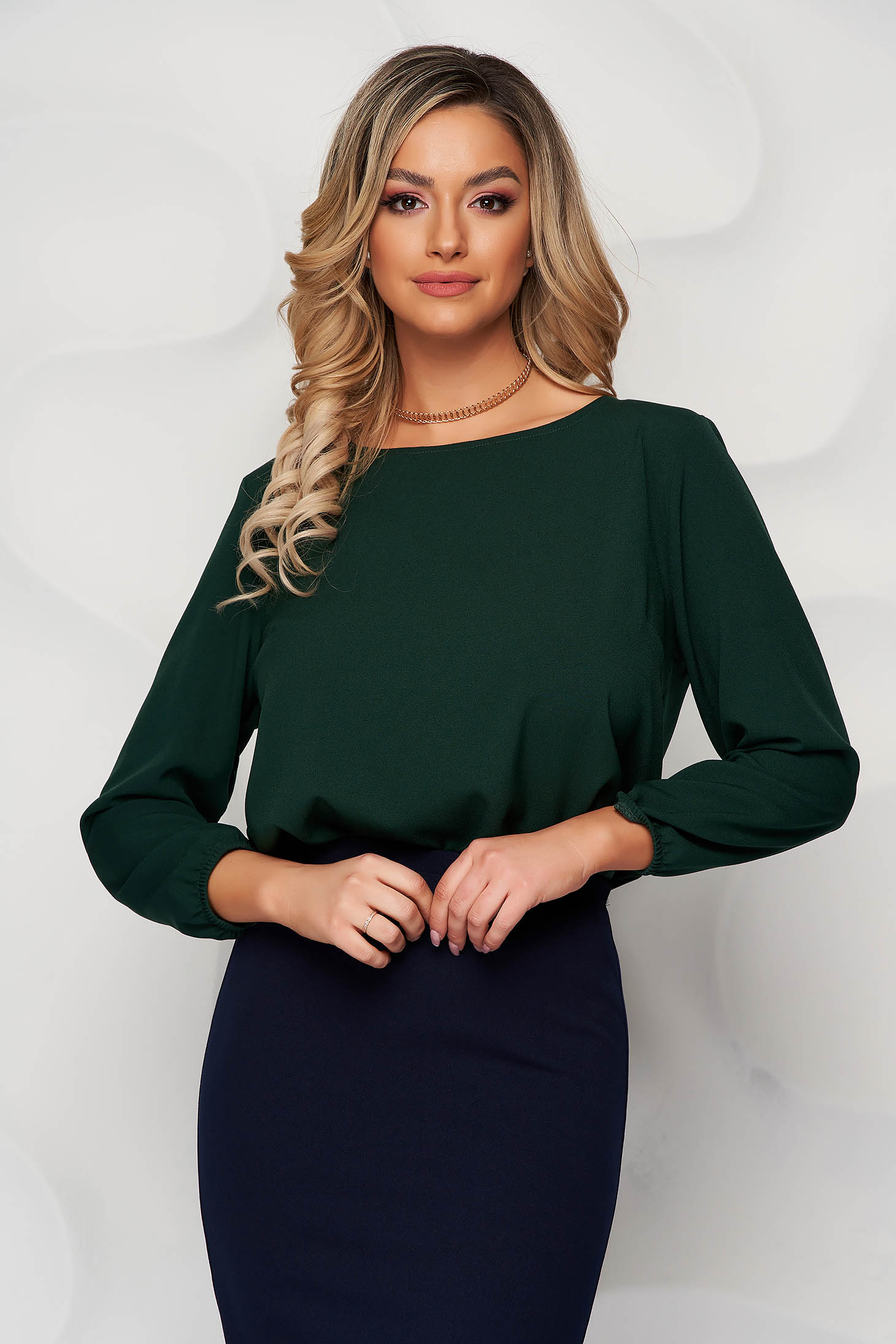 StarShinerS darkgreen women`s blouse loose fit with rounded cleavage from elastic fabric
