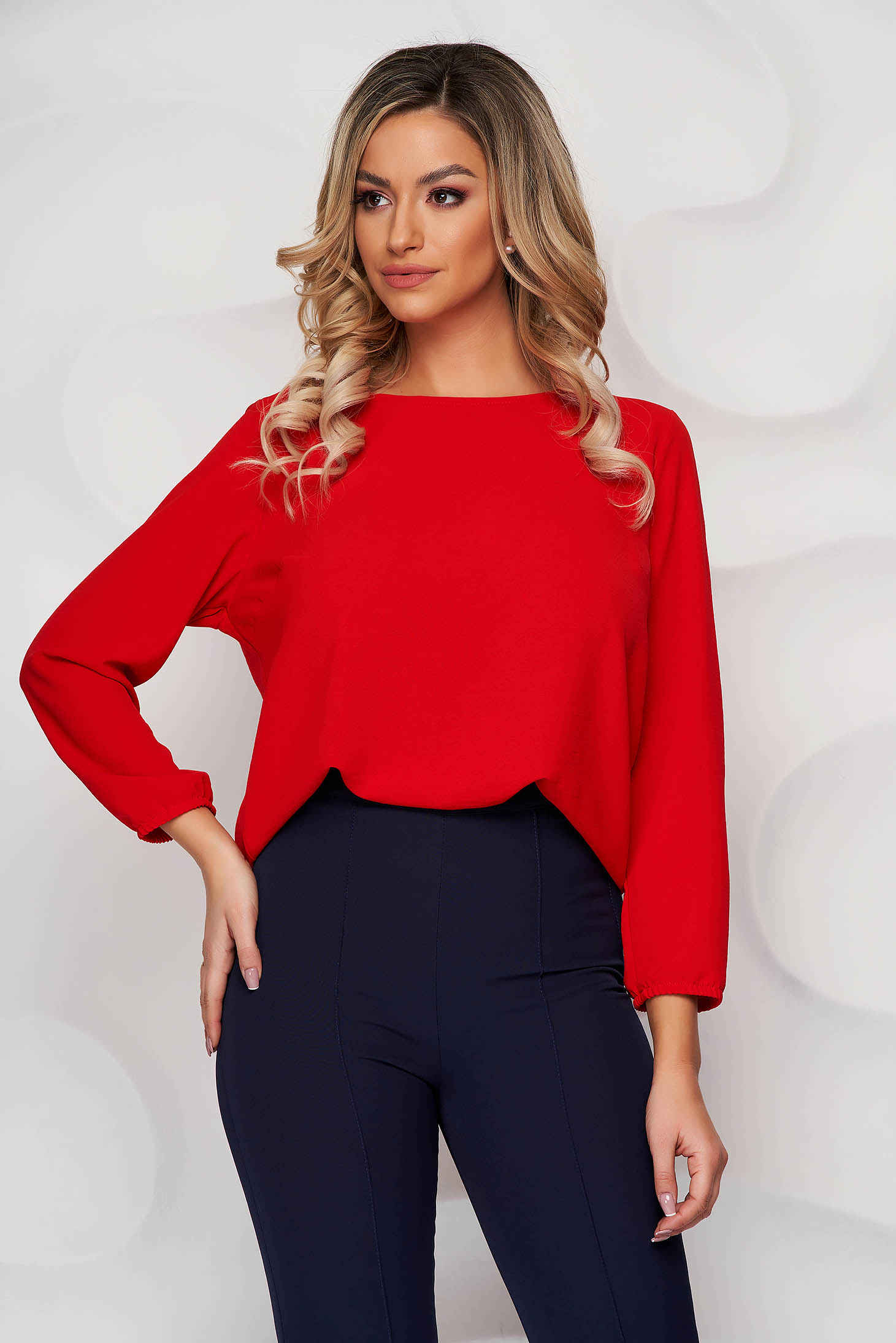 StarShinerS red women`s blouse loose fit with rounded cleavage from elastic fabric