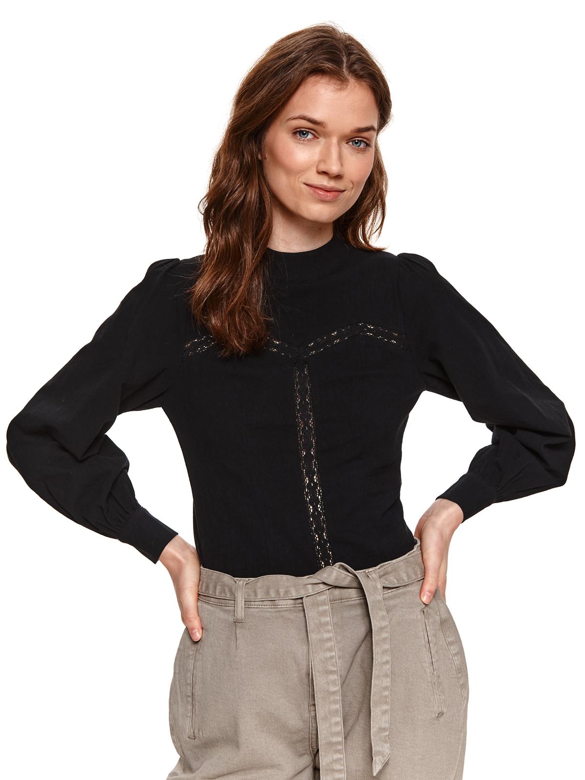 With turtle neck elastic held sleeves black women`s blouse