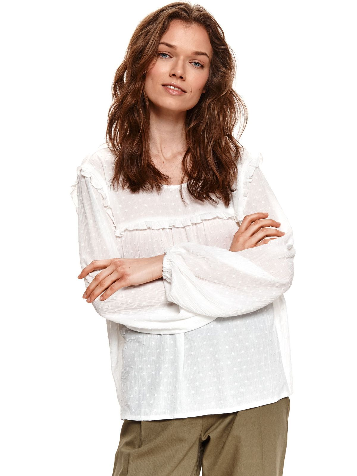 Plumeti loose fit with ruffle details white women`s blouse