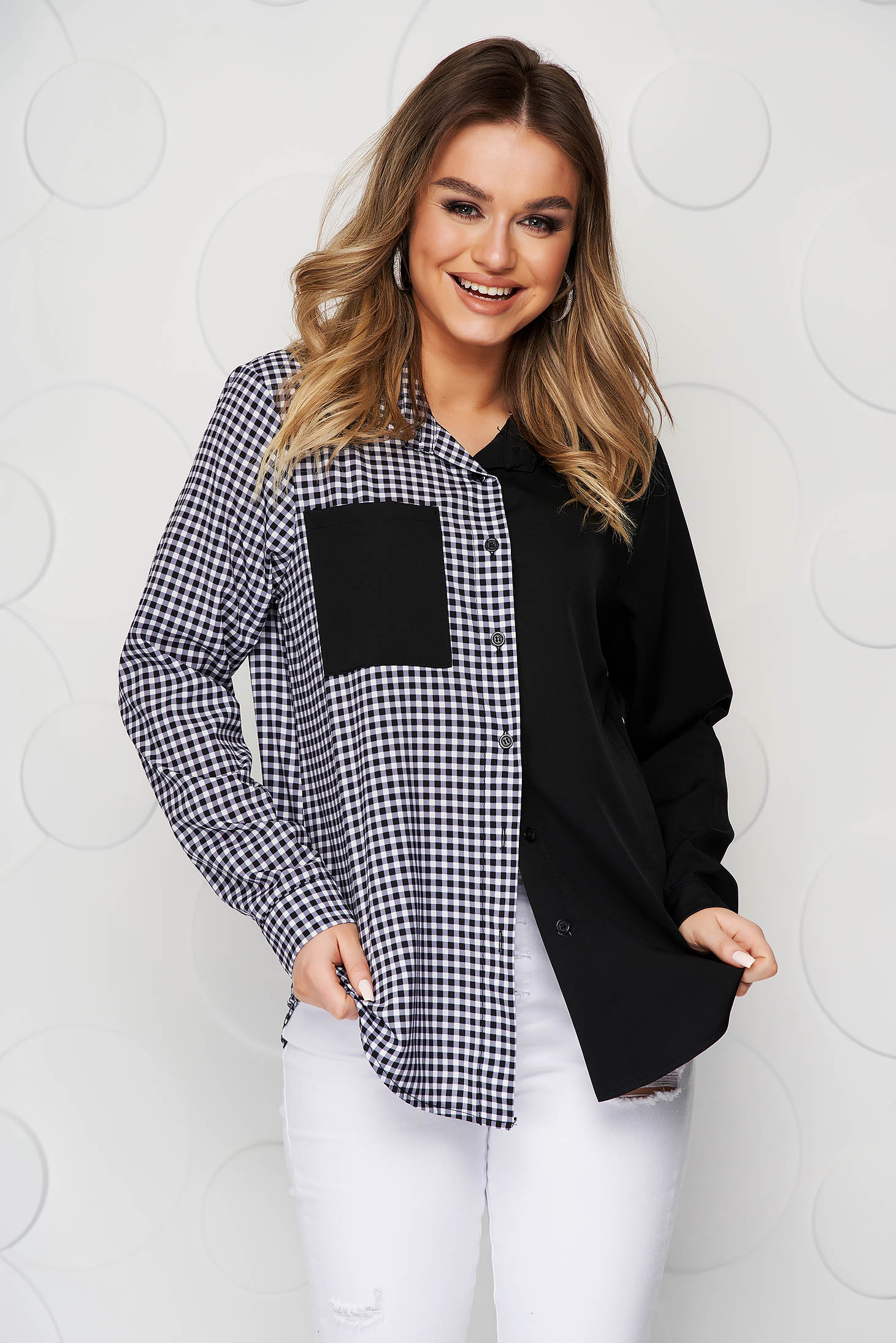 Black women`s shirt with chequers loose fit