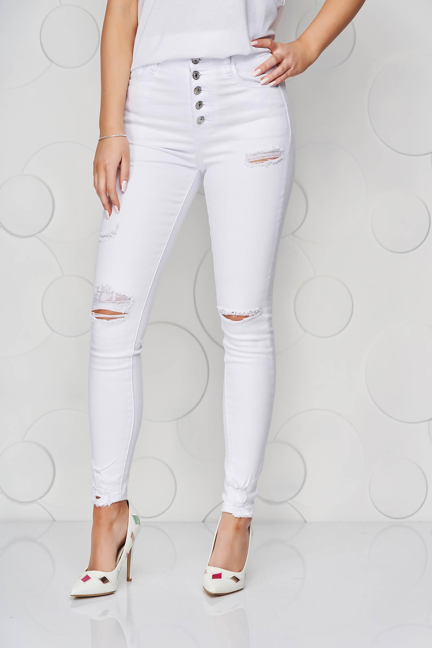 White jeans denim high waisted skinny jeans