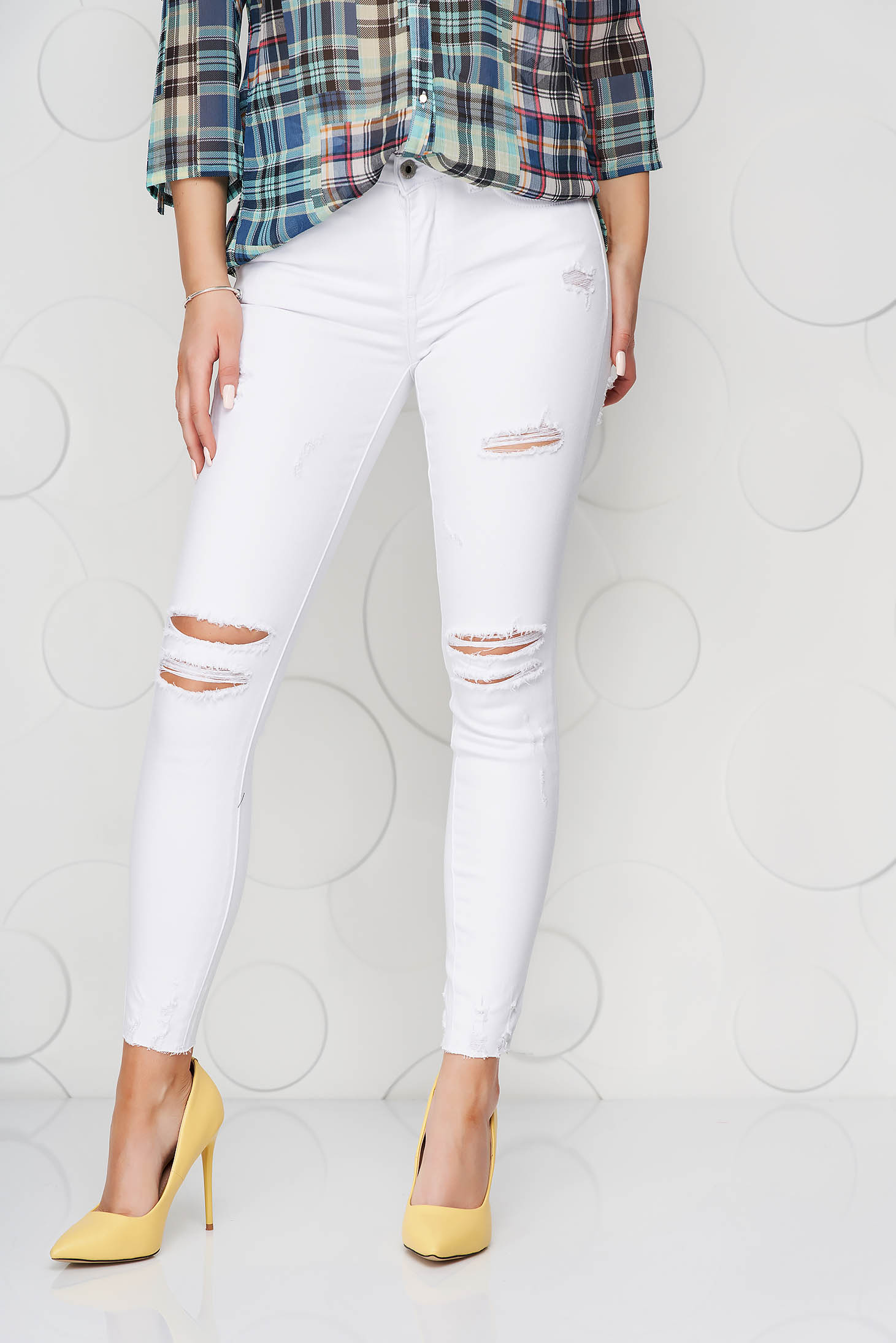 White jeans denim high waisted skinny jeans