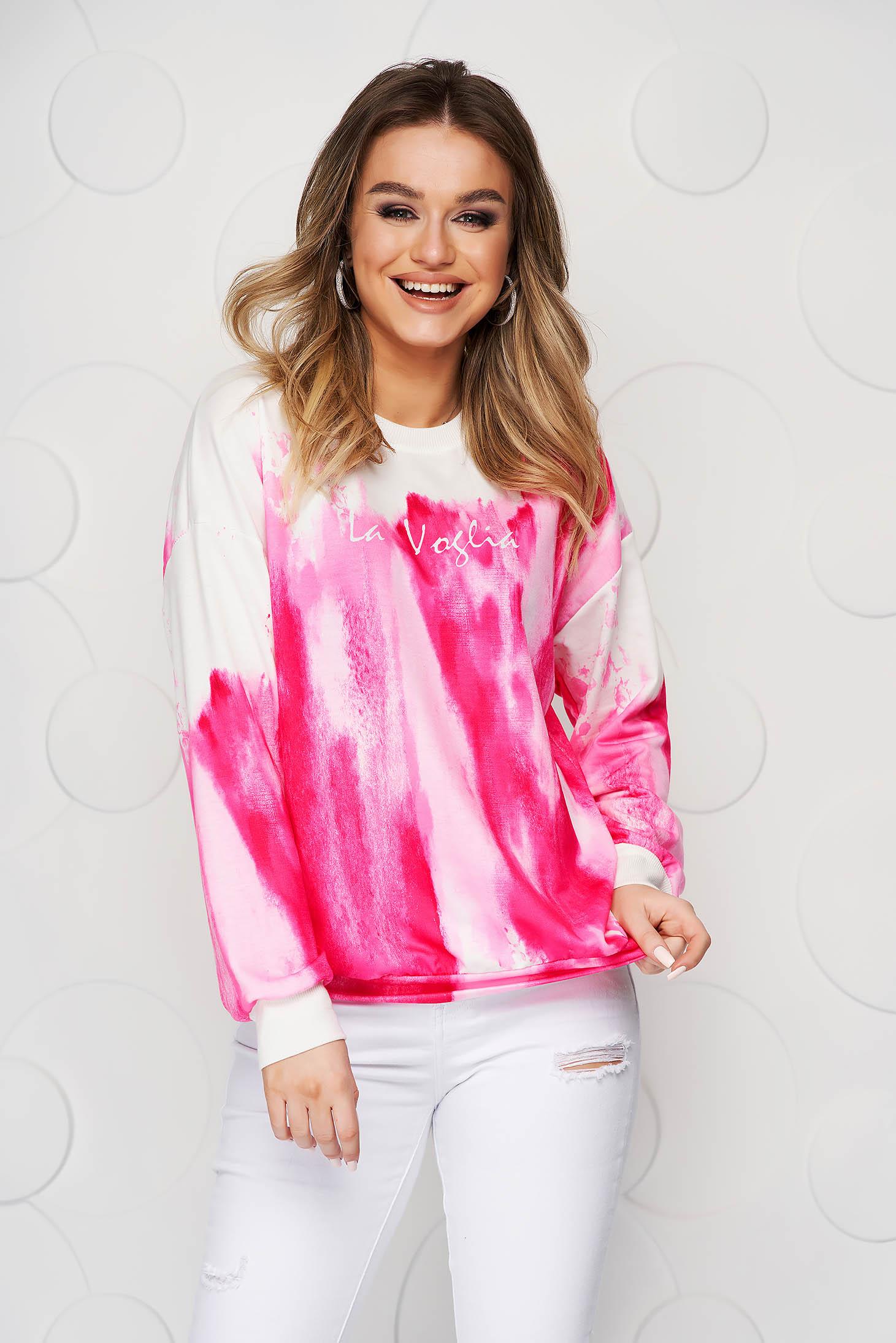 Bluza dama SunShine roz in degrade din material elastic si fin cu croi larg scurta