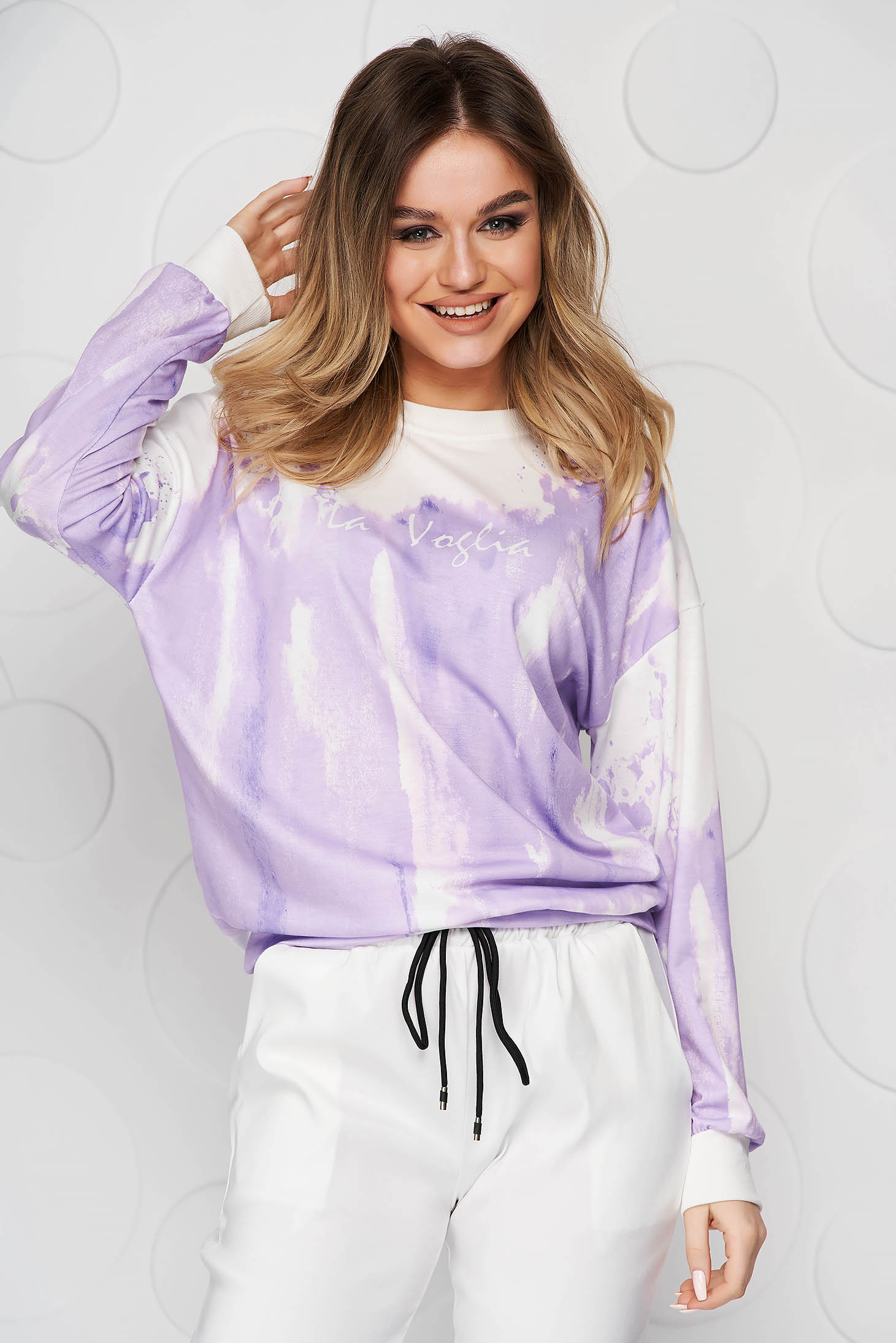 Purple women`s blouse loose fit short cut from elastic and fine fabric