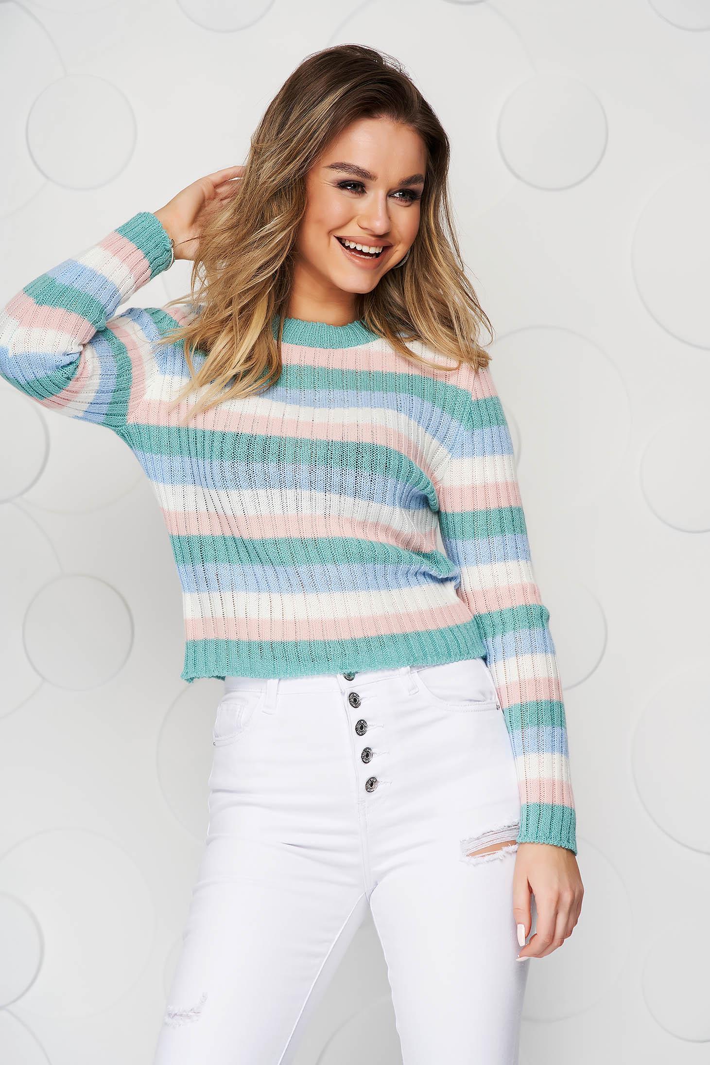 Pulover SunShine cu dungi mulat din tricot elastic si reiat