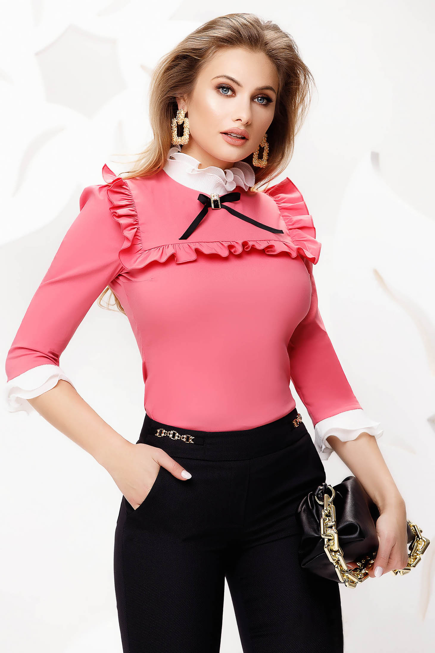 Pink tented slightly elastic fabric office women`s shirt with bow accessories