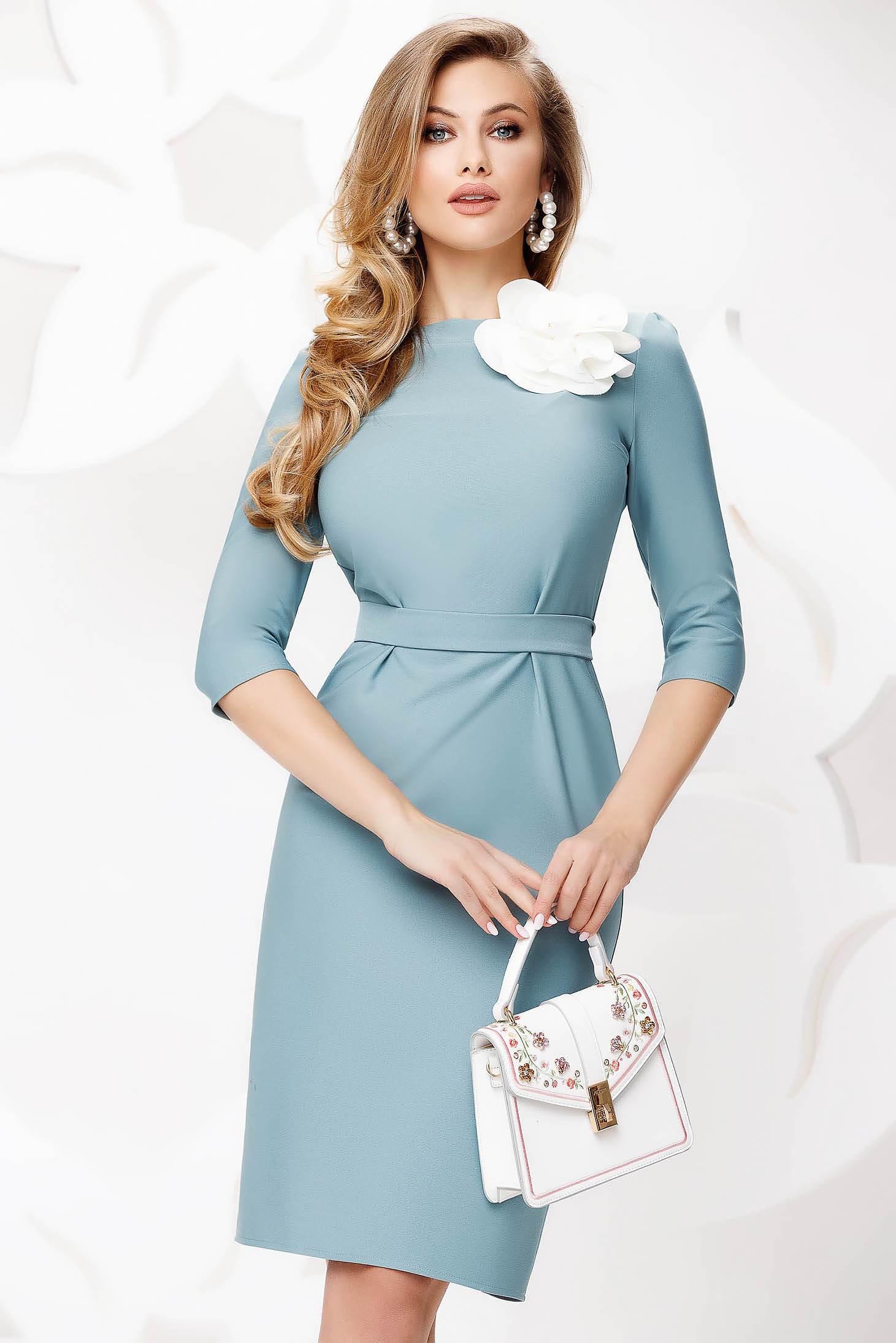 Turquoise dress midi pencil office thin fabric