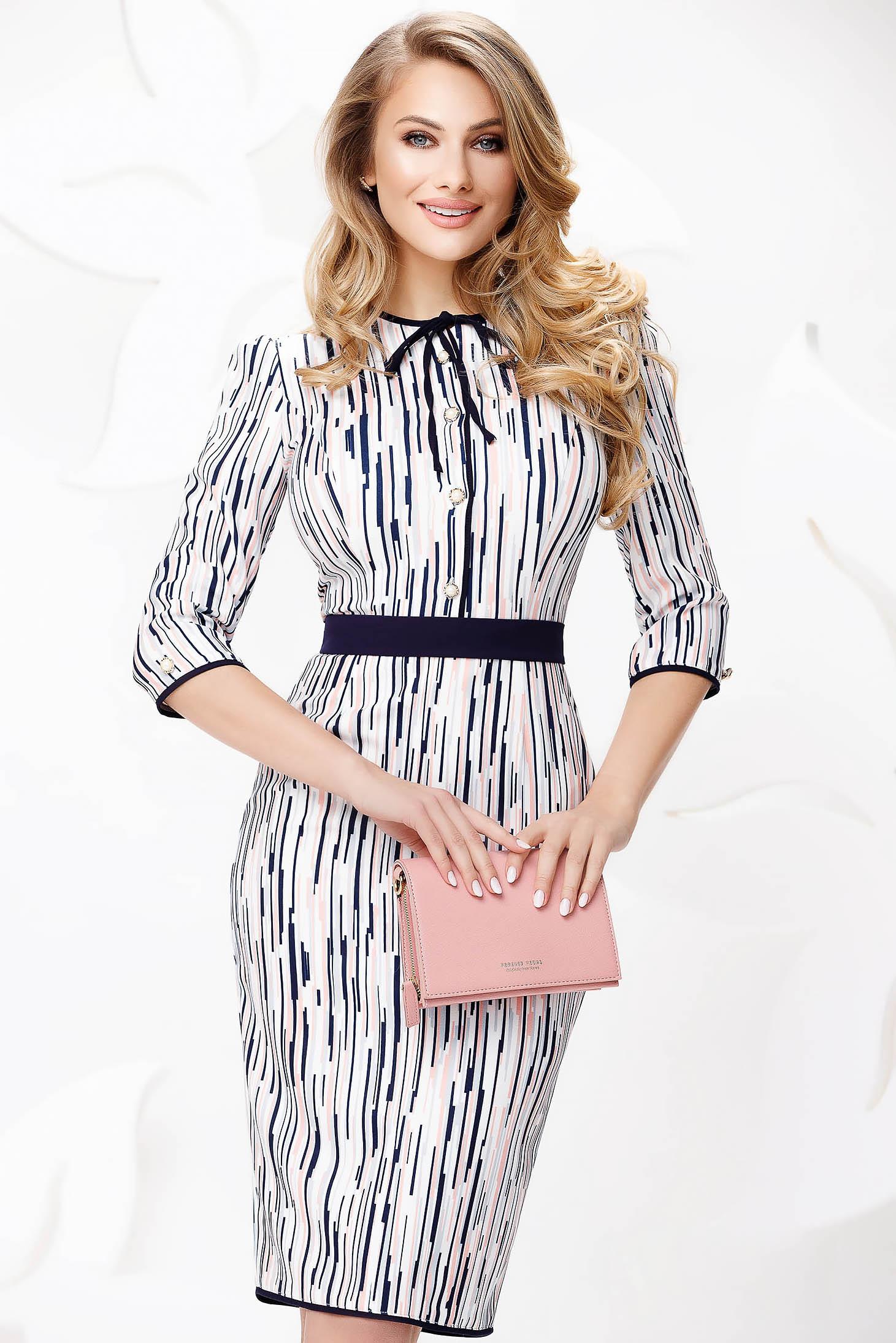 Lightpink dress elegant midi pencil thin fabric with bow accessories