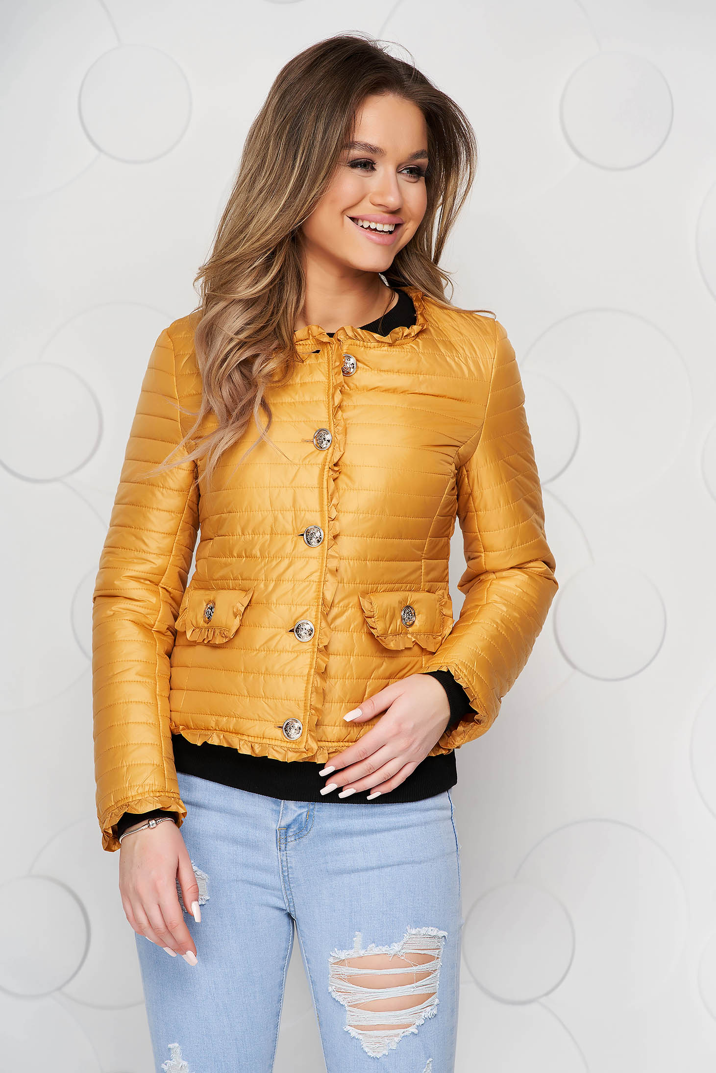 Mustard jacket short cut tented thin fabric with ruffle details from slicker